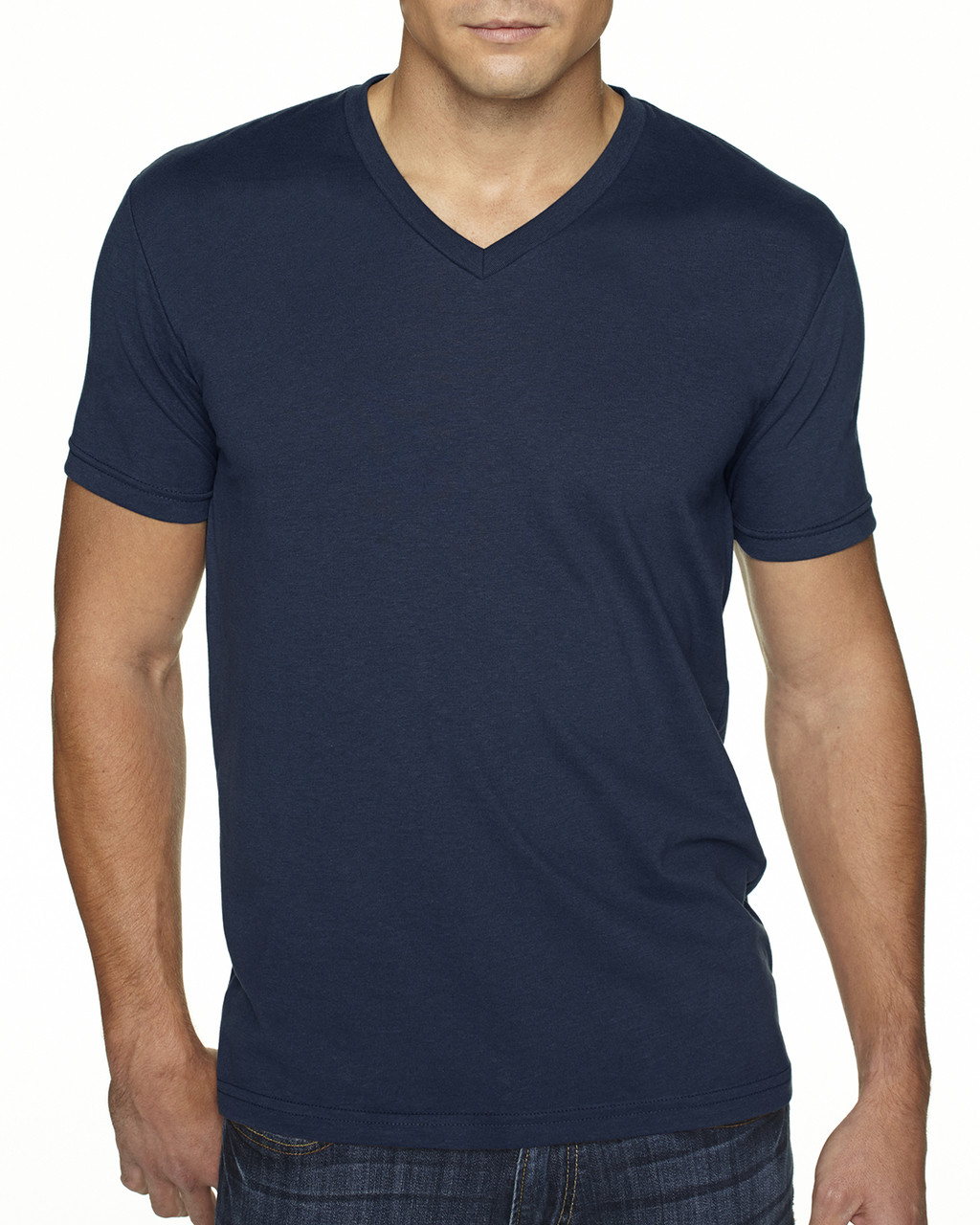 Midnight Navy - 6440 Next Level Men's Premium Fitted Sueded V-Neck Tee | Blankclothing.ca
