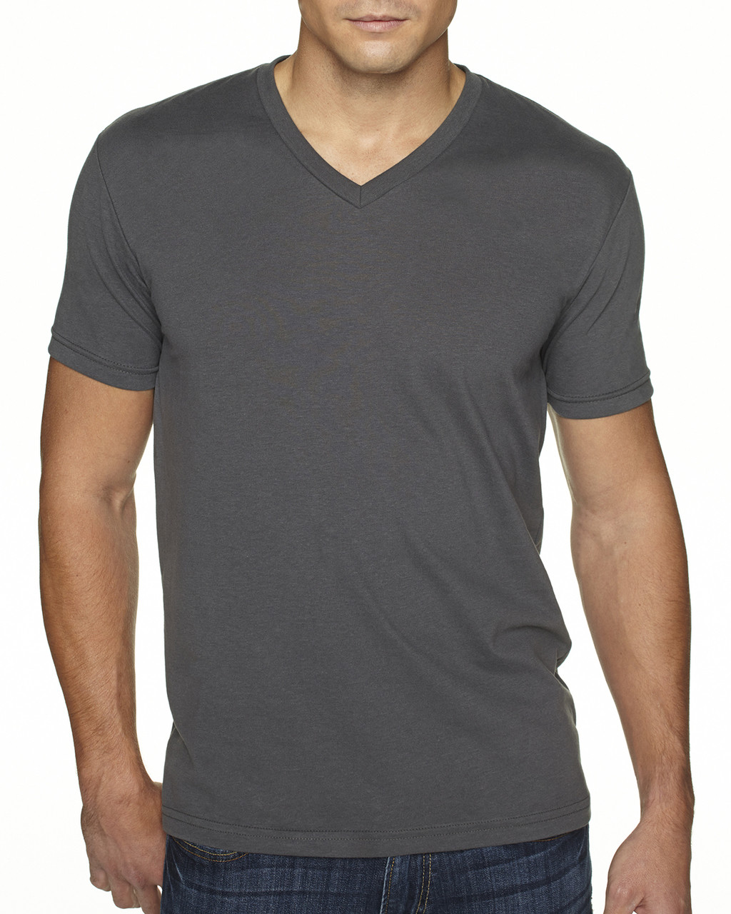 Heavy Metal - 6440 Next Level Men's Premium Fitted Sueded V-Neck Tee | Blankclothing.ca
