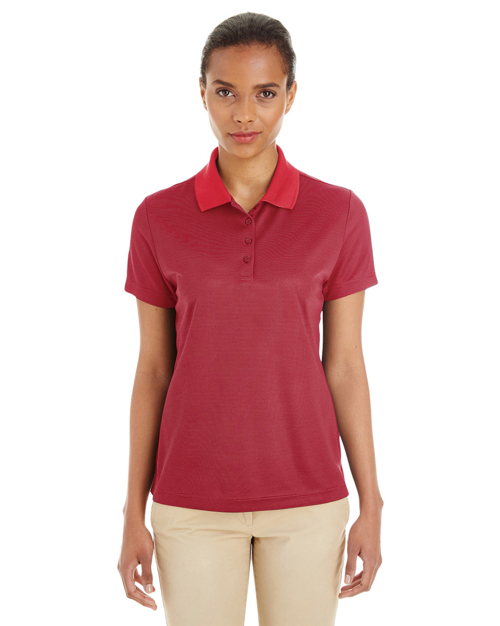 Classic Red / Carbon - CE102W Ash City - Core 365 Ladies' Express Microstripe Performance Piqué Polo Shirt   Blankclothing.ca