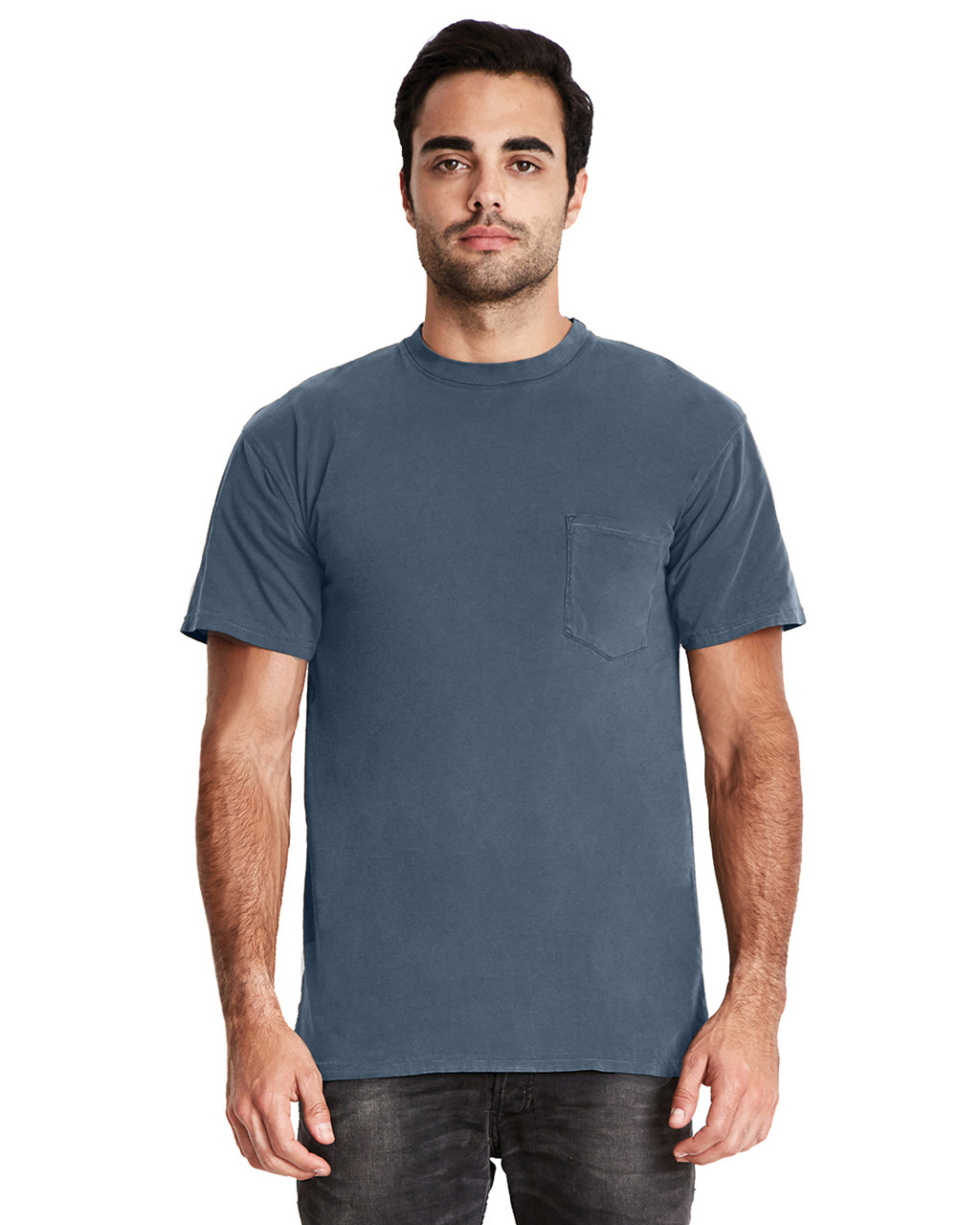 Blue Jean - 7415 Next Level Adult Inspired Dye Crew T-Shirt with Pocket | Blankclothing.ca