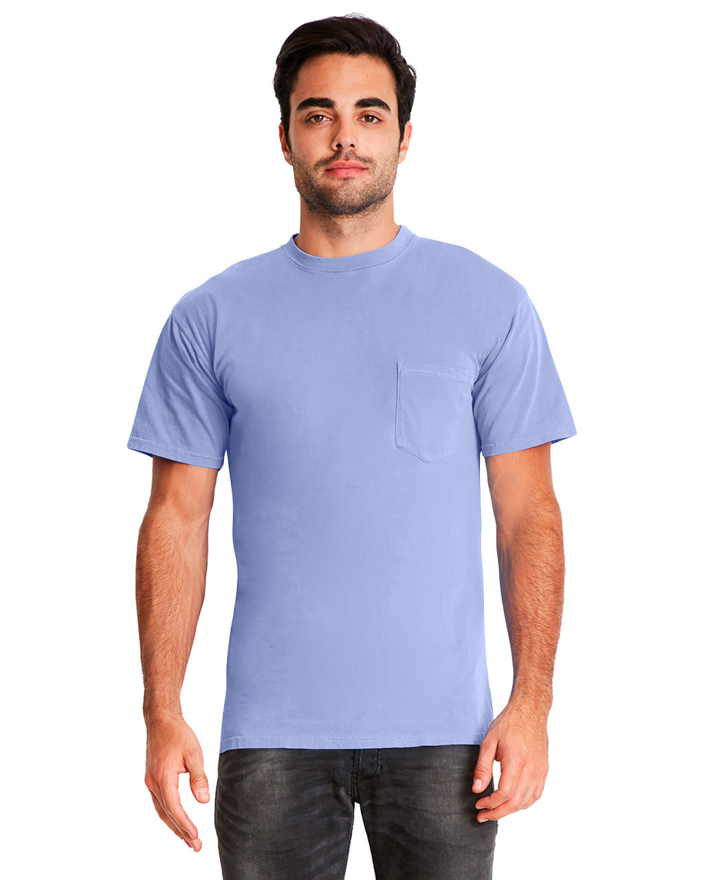 Peri Blue - 7415 Next Level Adult Inspired Dye Crew T-Shirt with Pocket | Blankclothing.ca