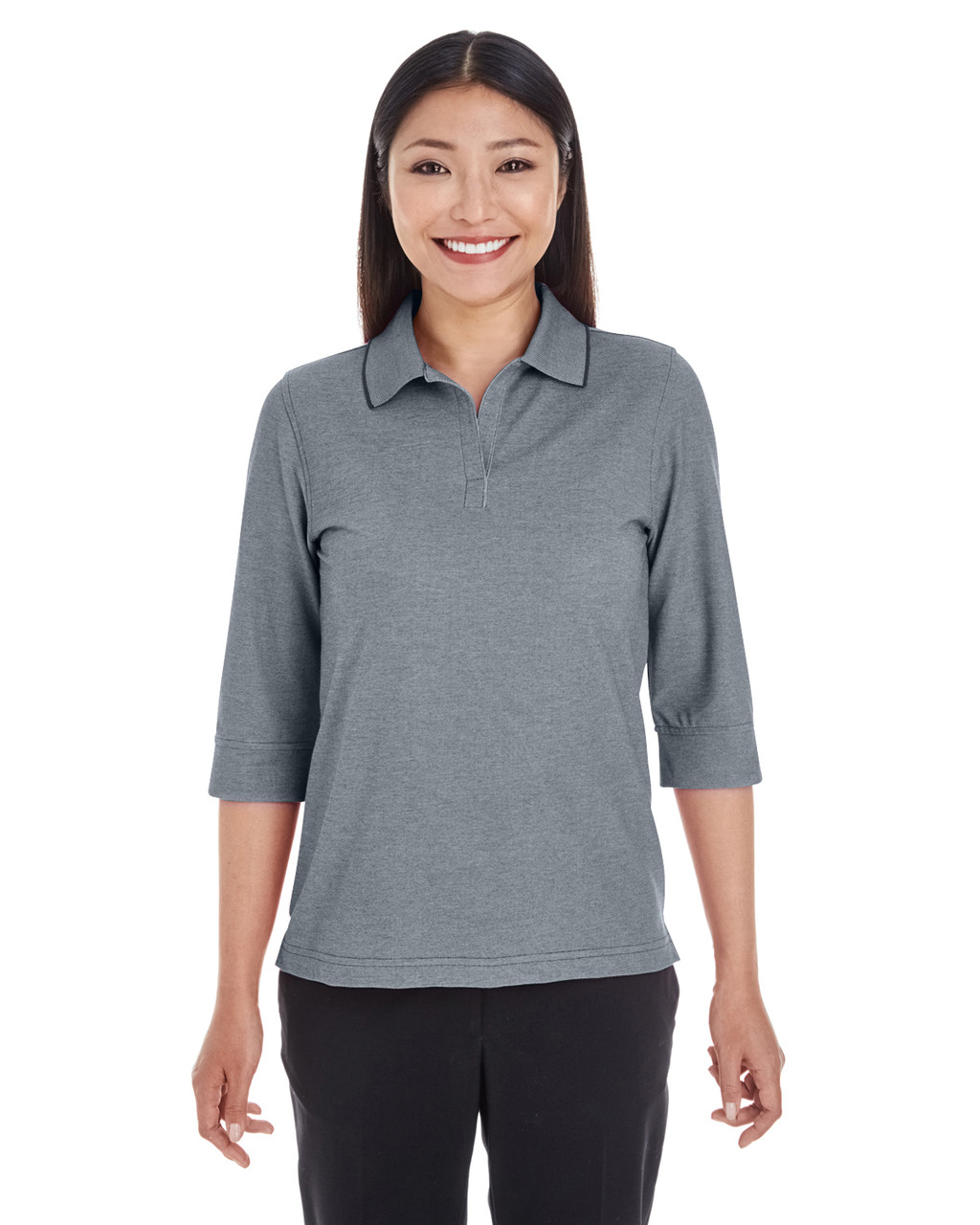 Navy Heather - DG220W Devon & Jones Ladies' Pima-Tech™ Oxford Piqué Polo Shirt | Blankclothing.ca