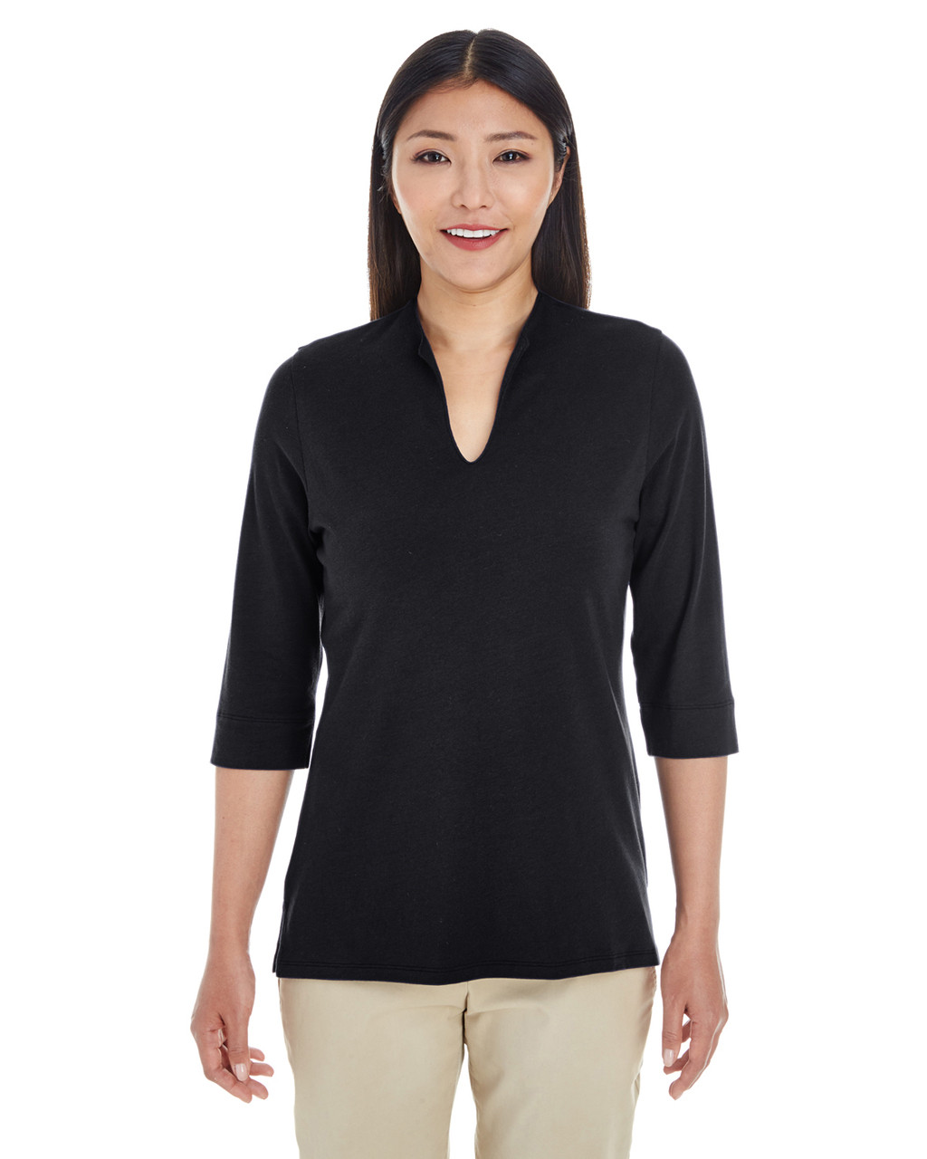 Black - DP188W Devon & Jones Ladies' Perfect Fit™ Tailored Open Neckline Top