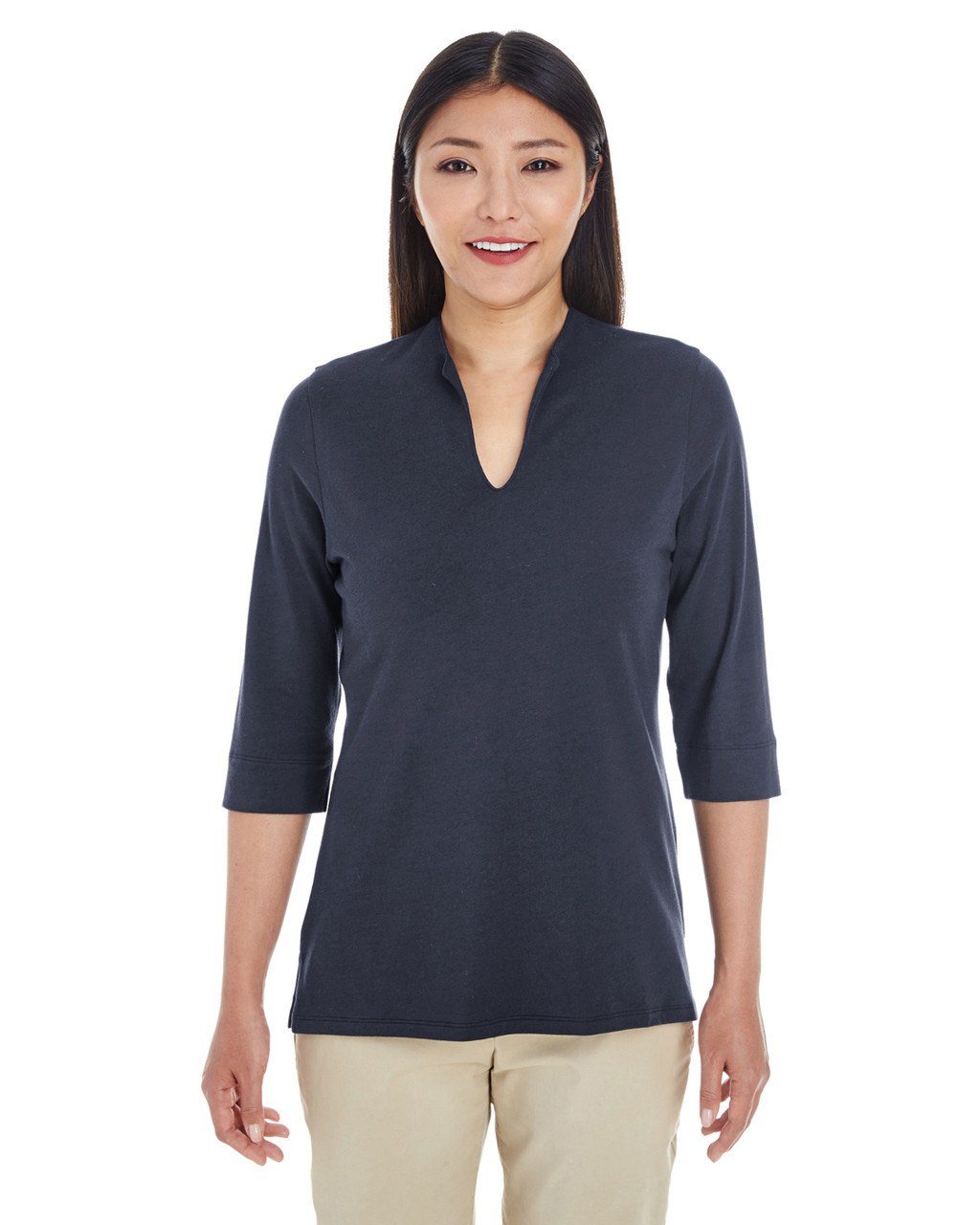 Navy - DP188W Devon & Jones Ladies' Perfect Fit™ Tailored Open Neckline Top
