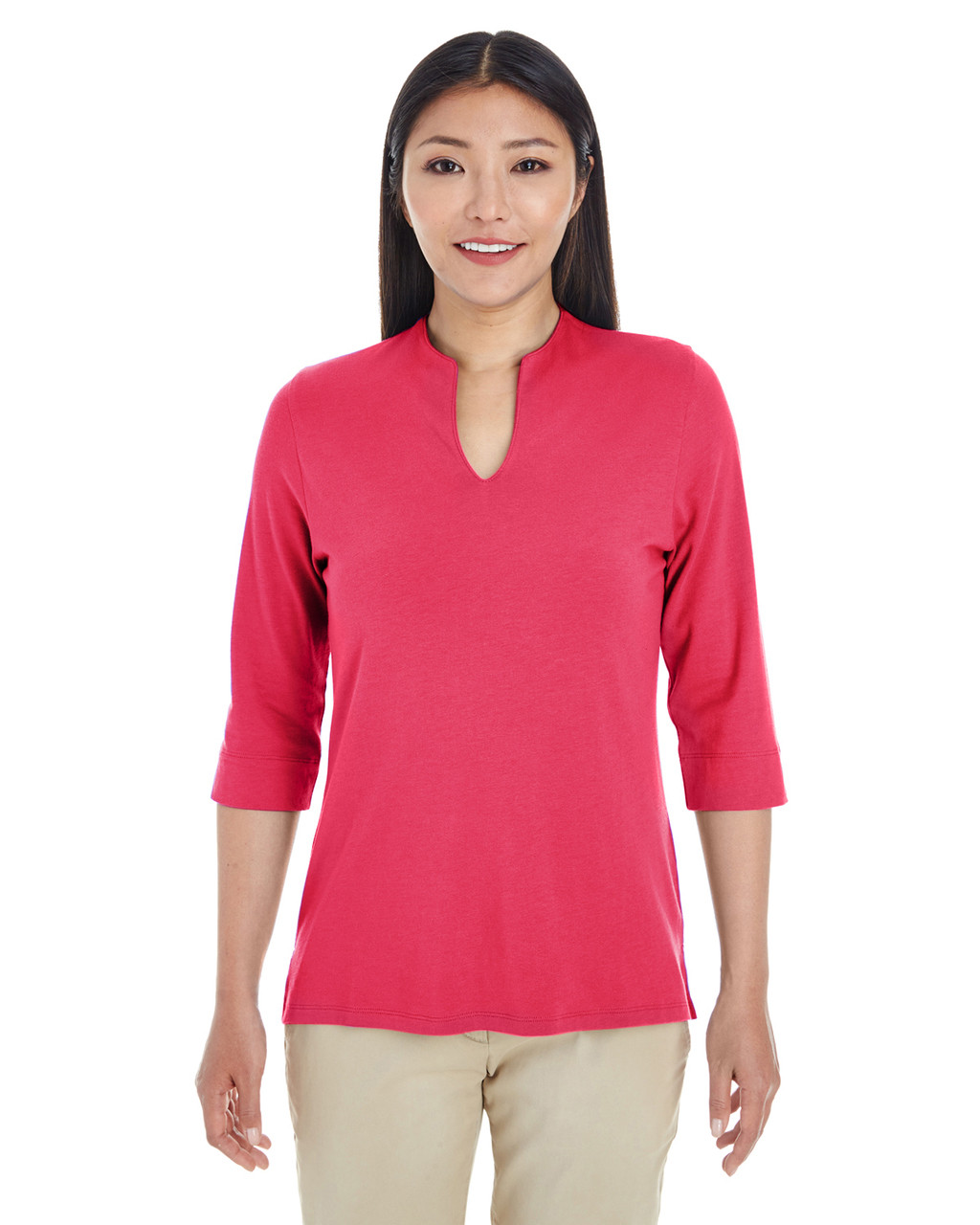 Red - DP188W Devon & Jones Ladies' Perfect Fit™ Tailored Open Neckline Top