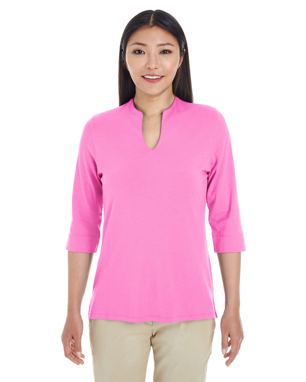 Charity Pink - DP188W Devon & Jones Ladies' Perfect Fit™ Tailored Open Neckline Top