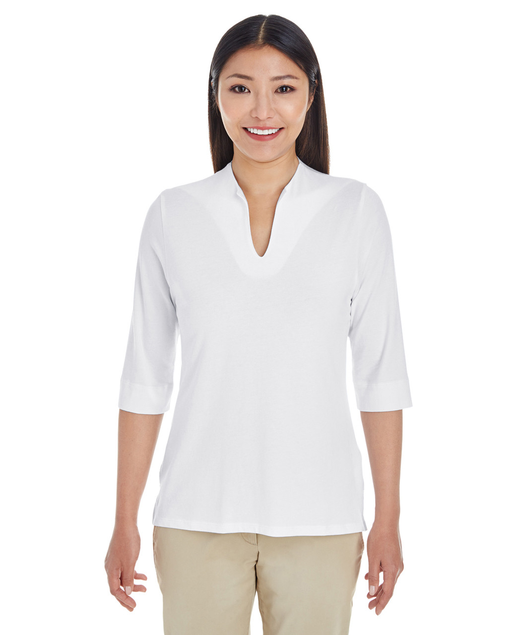 White - DP188W Devon & Jones Ladies' Perfect Fit™ Tailored Open Neckline Top