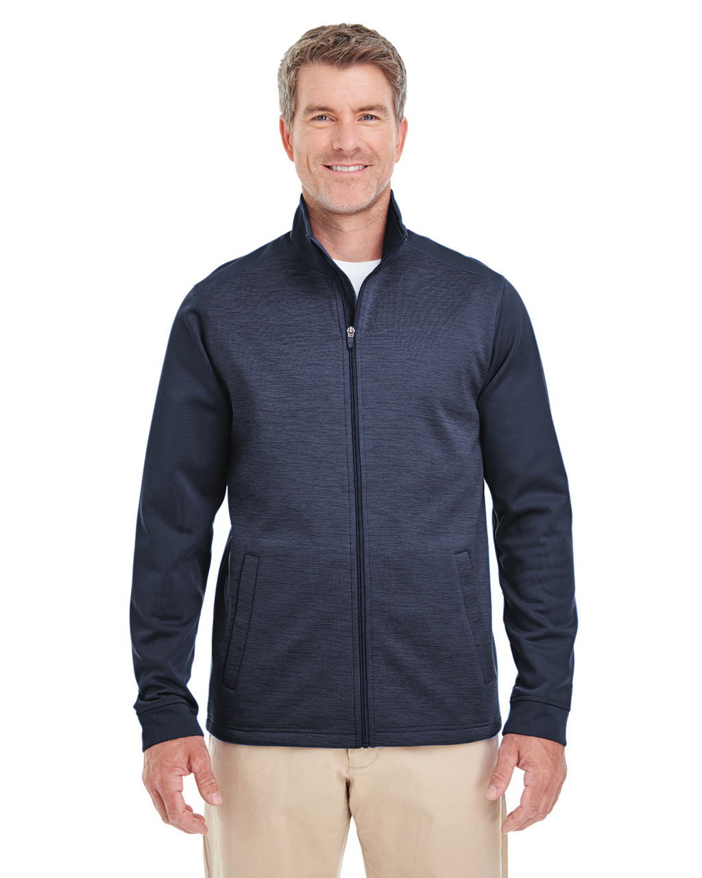 Navy / Navy Heather - DG796 Devon & Jones Men's Newbury Colorblock Mélange Fleece Full-Zip Sweater