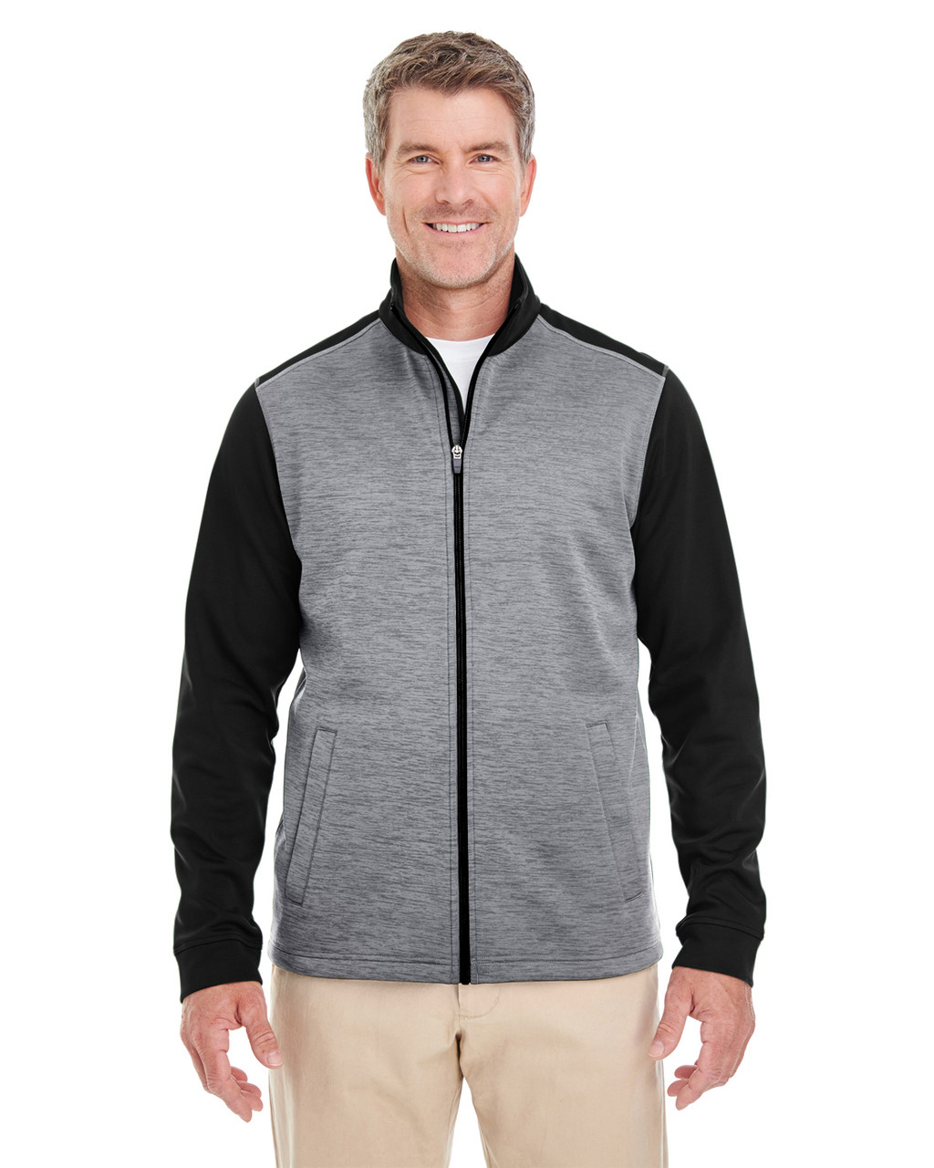 Black Heather / Dark Grey Heather - DG796 Devon & Jones Men's Newbury Colorblock Mélange Fleece Full-Zip Sweater