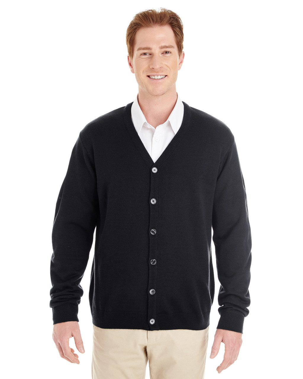 Black - M425 Harriton Men's Pilbloc™ V-Neck Button Cardigan Sweater