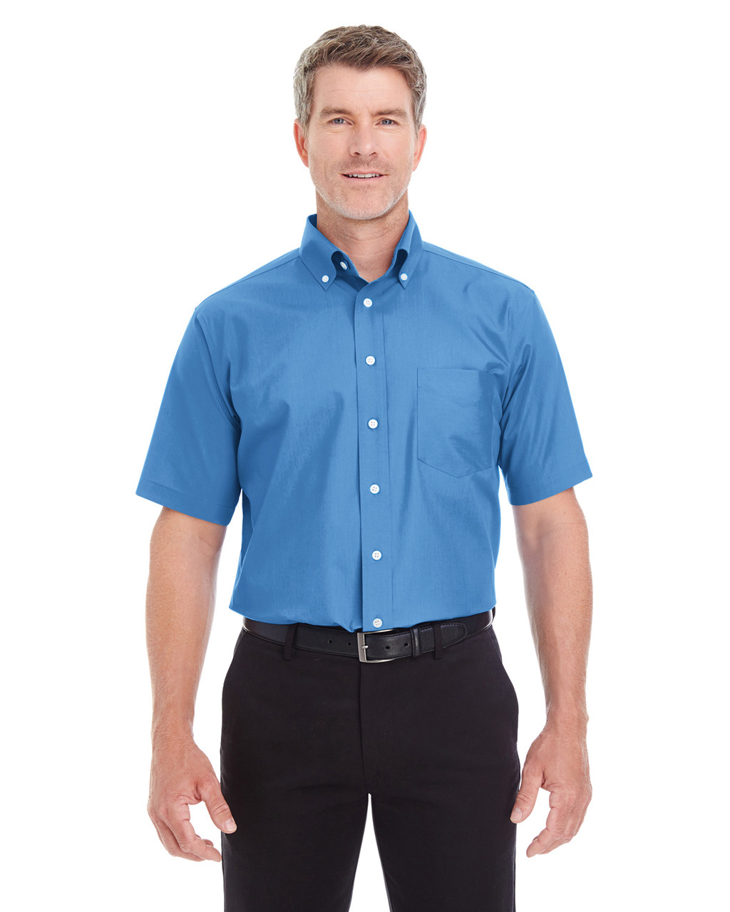 French Blue - D620S Devon & Jones Men's Crown Collection™ Solid Broadcloth Short Sleeve Shirt | Blankclothing.ca