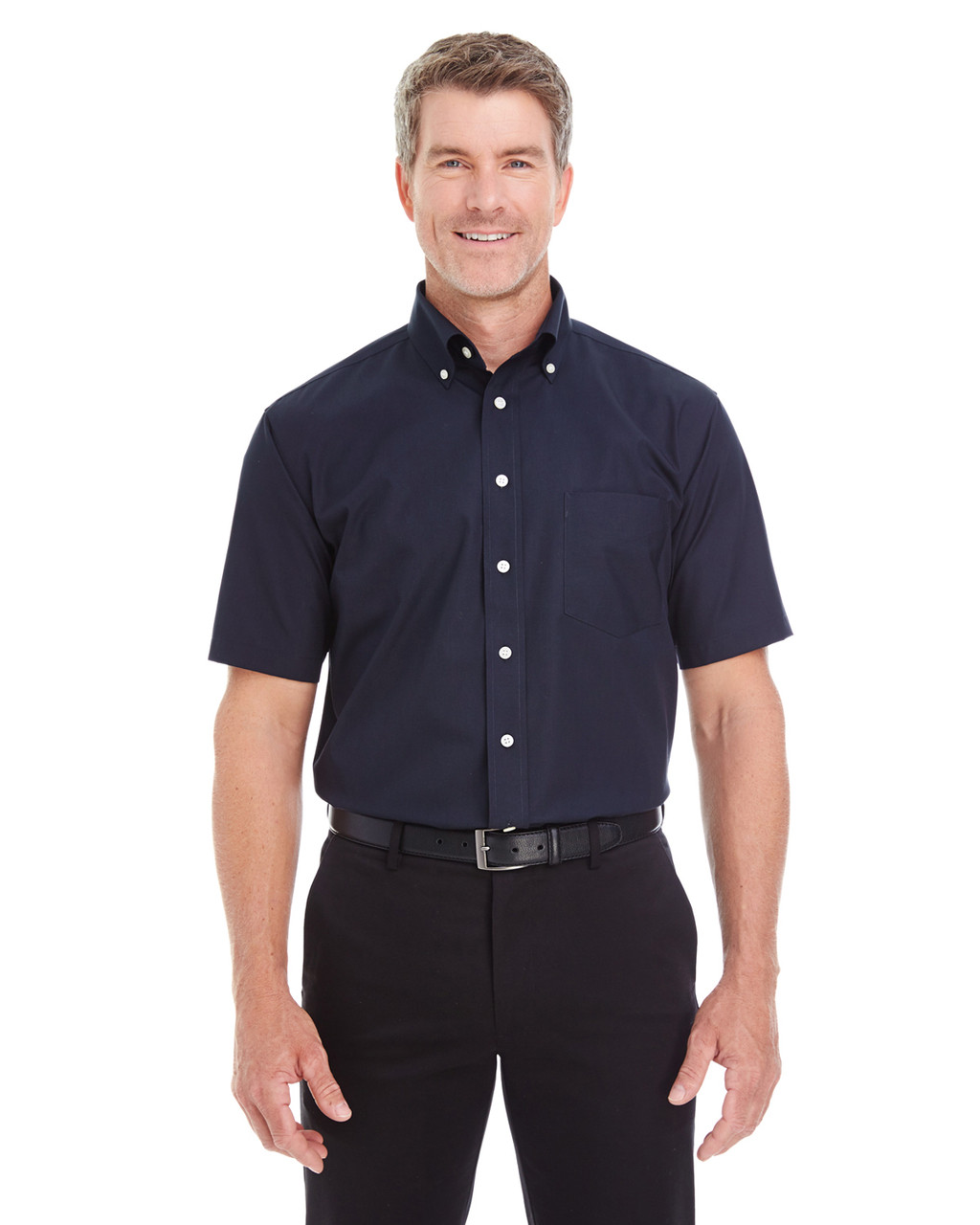 Navy - D620S Devon & Jones Men's Crown Collection™ Solid Broadcloth Short Sleeve Shirt | Blankclothing.ca