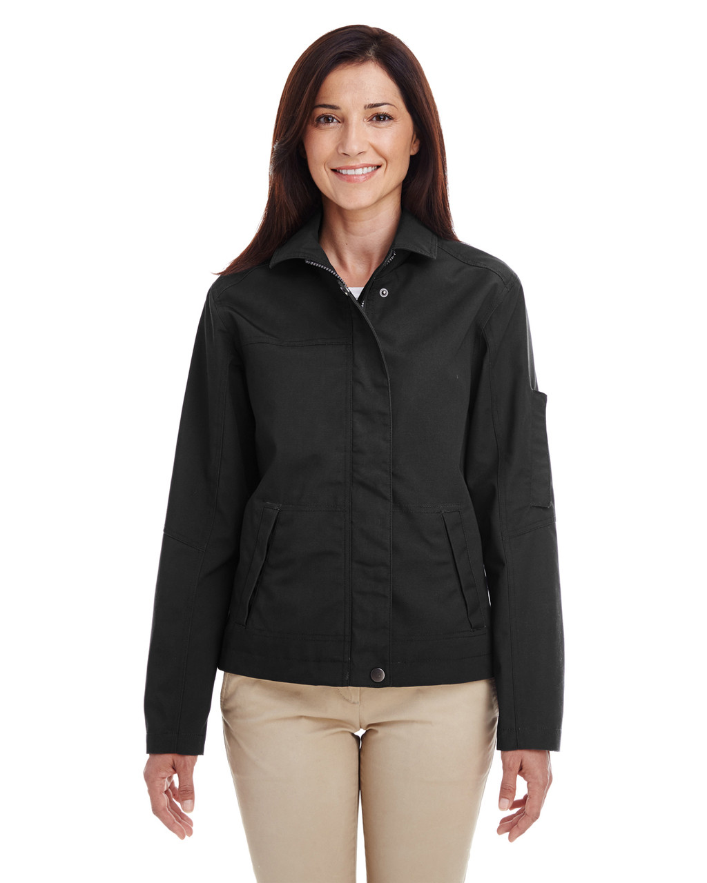 Black - M705W Harriton Ladies' Auxiliary Canvas Work Jacket