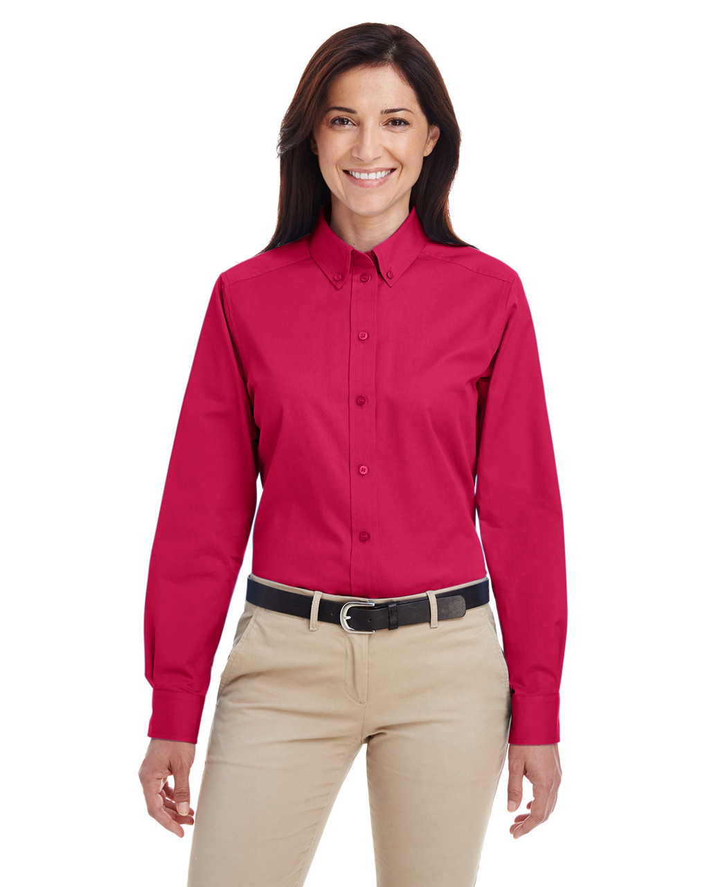 Red - M581W Harriton Ladies' Foundation 100% Cotton Long Sleeve Twill Shirt with Teflon™