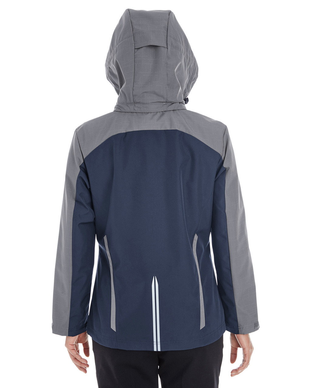 Navy/Graphite/Graphite - BACK - NE700W Ash City - North End Ladies' Embark Colorblock Interactive Shell Jacket with Reflective Printed Panels | Blankclothing.ca