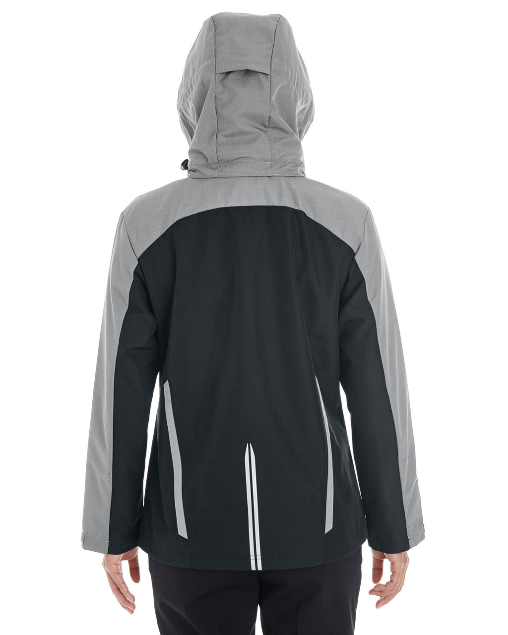 Black/Grey/Red - BACK - NE700W Ash City - North End Ladies' Embark Colorblock Interactive Shell Jacket with Reflective Printed Panels | Blankclothing.ca