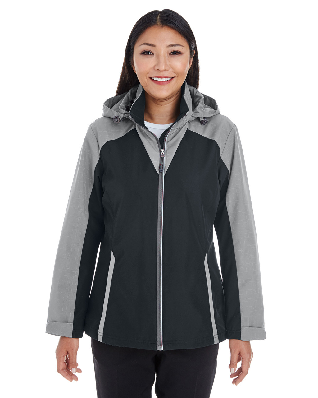Black/Grey/Grey - FRONT - NE700W Ash City - North End Ladies' Embark Colorblock Interactive Shell Jacket with Reflective Printed Panels | Blankclothing.ca
