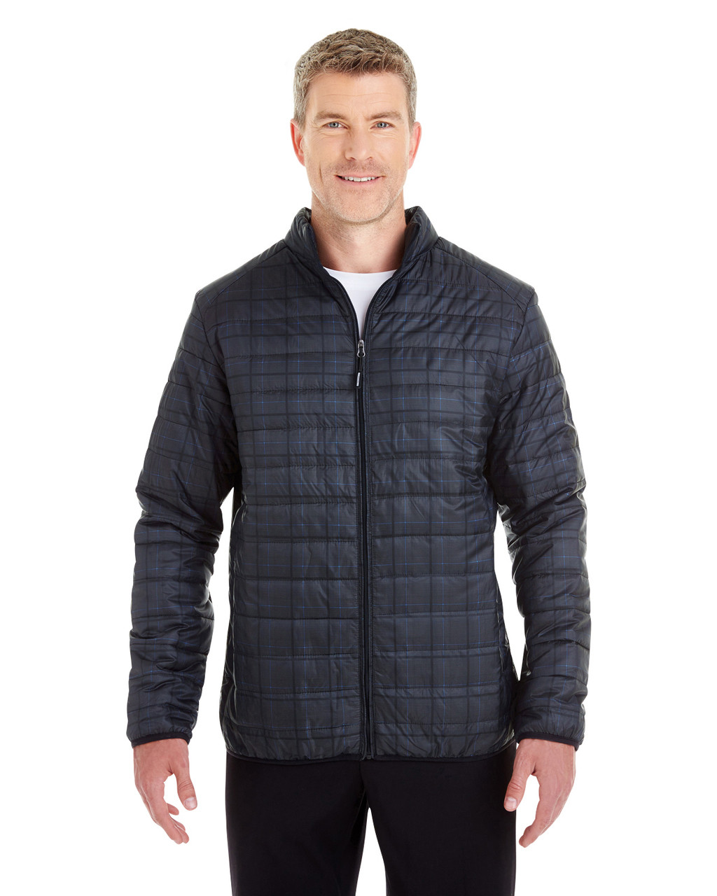 Grid - FRONT - NE701 Ash City - North End Men's Portal Interactive Printed Packable Puffer Jacket | Blankclothing.ca