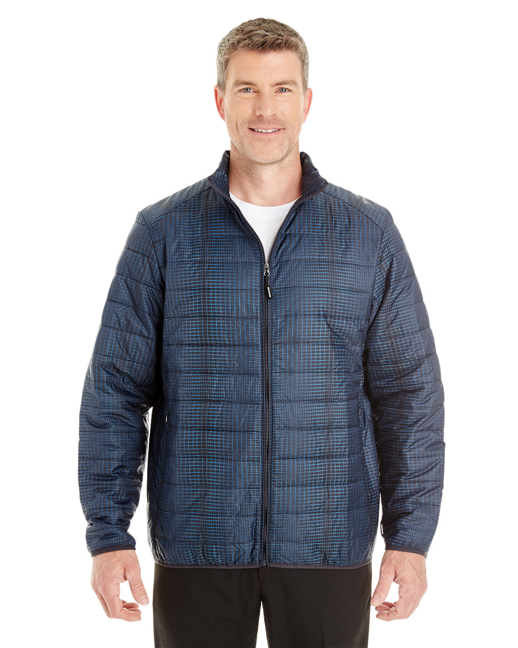 Plaid - FRONT - NE701 Ash City - North End Men's Portal Interactive Printed Packable Puffer Jacket | Blankclothing.ca