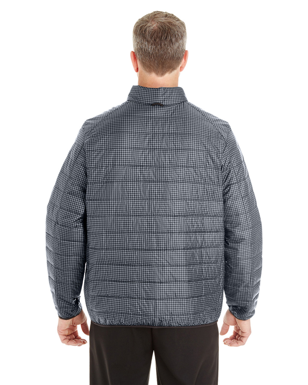 Houndstooth - BACK - NE701 Ash City - North End Men's Portal Interactive Printed Packable Puffer Jacket | Blankclothing.ca