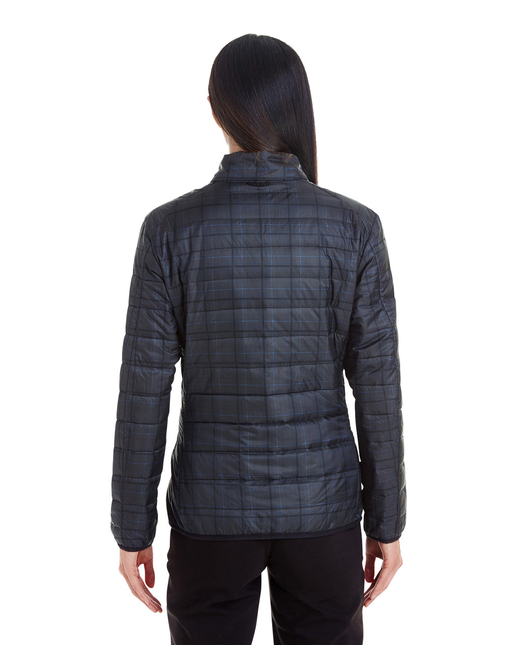 Plaid - BACK - NE701W Ash City - North End Ladies' Portal Interactive Printed Packable Puffer Jacket | Blankclothing.ca
