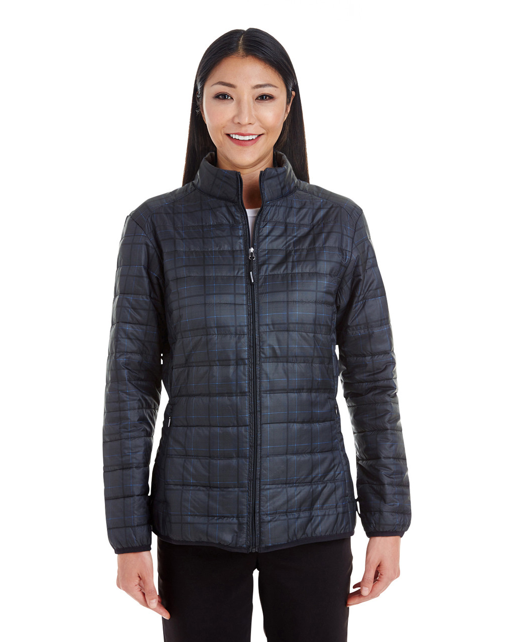 Plaid - FRONT - NE701W Ash City - North End Ladies' Portal Interactive Printed Packable Puffer Jacket | Blankclothing.ca