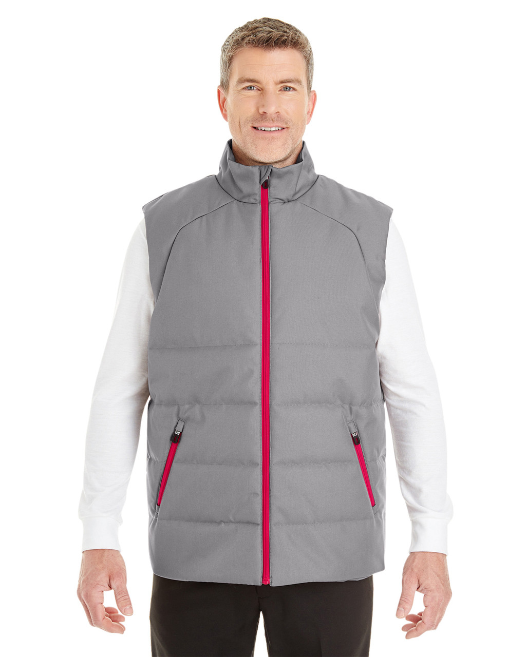 Graphite/Red - FRONT - NE702 North End Men's Engage Interactive Insulated Vest | Blankclothing.ca
