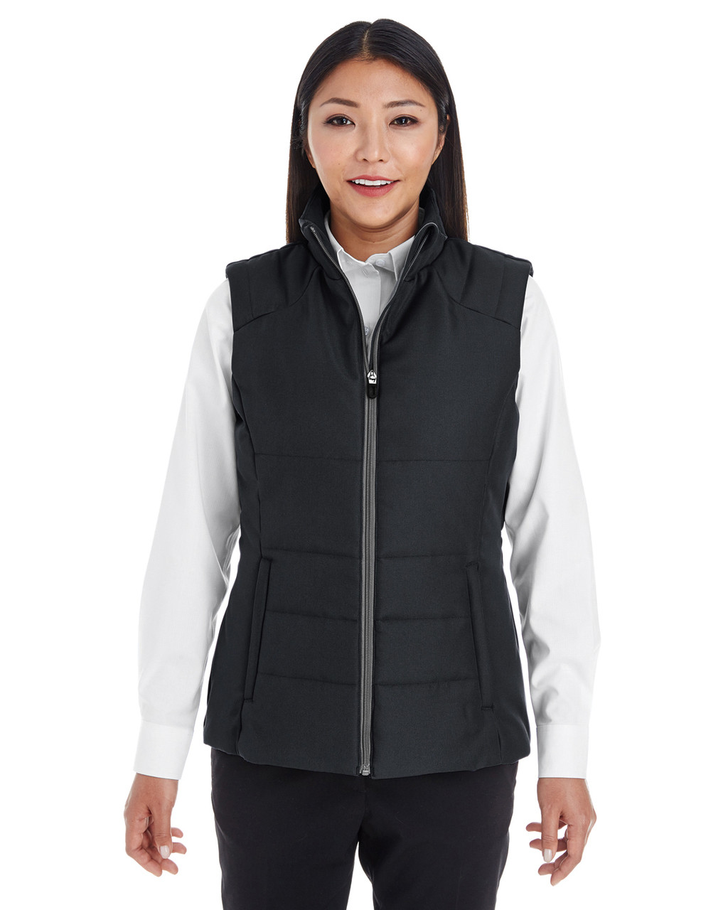Black/Graphite - FRONT - NE702W Ash City - North End Ladies' Engage Interactive Insulated Vest Blankclothing.ca