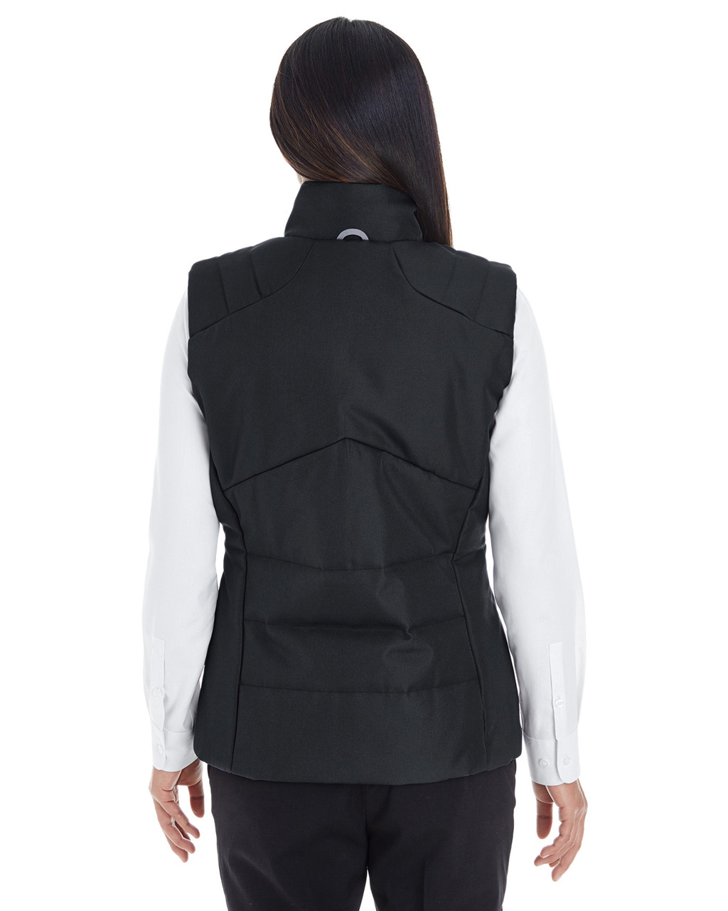 Black/Graphite - BACK - NE702W Ash City - North End Ladies' Engage Interactive Insulated Vest Blankclothing.ca