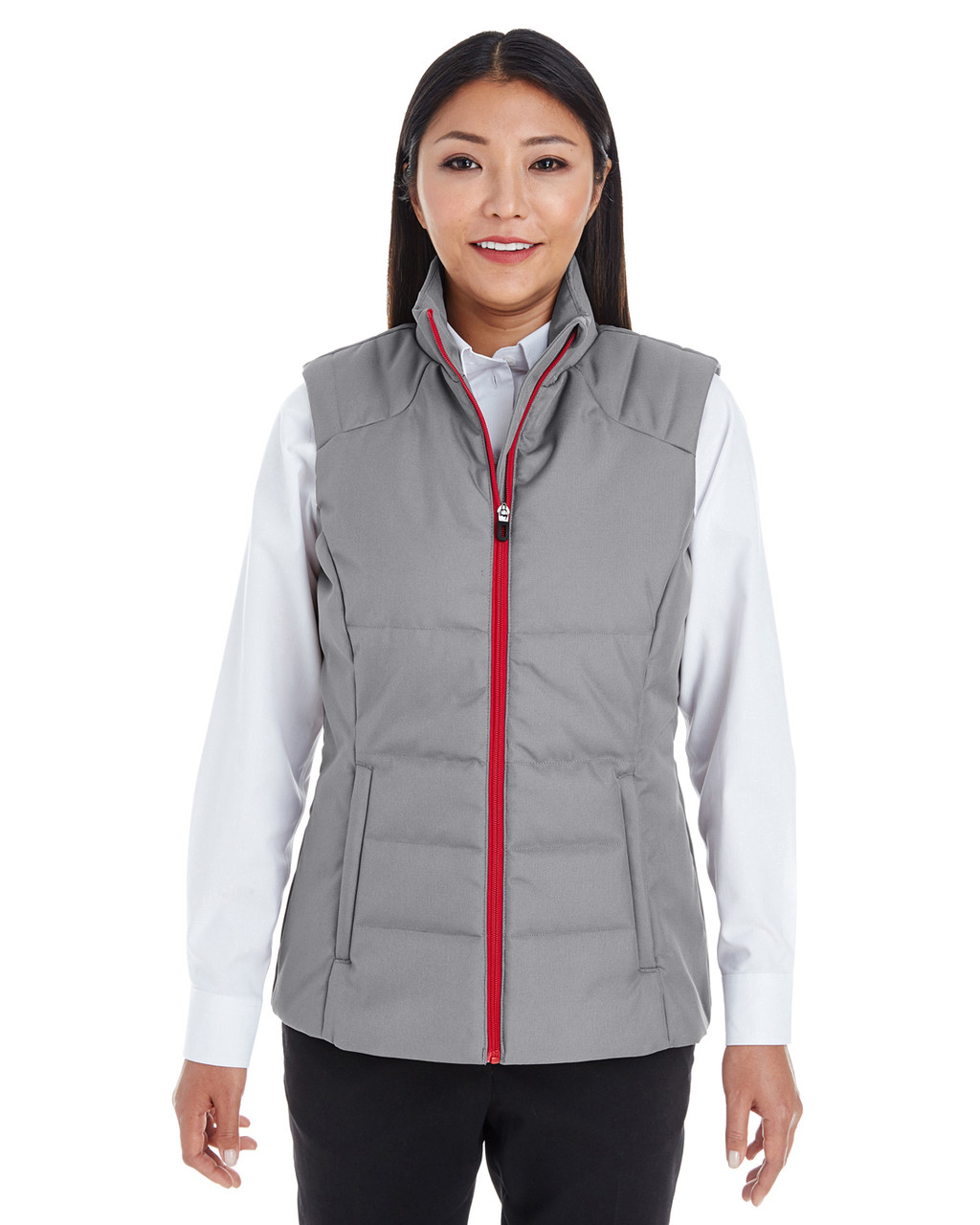 Graphite/Red - FRONT - NE702W Ash City - North End Ladies' Engage Interactive Insulated Vest Blankclothing.ca