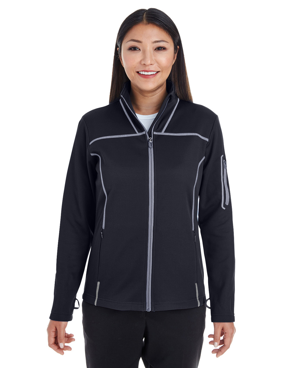 Black/Grey/Grey - FRONT  - NE703W Ash City - North End Ladies' Endeavor Interactive Performance Fleece Jacket | Blankclothing.ca