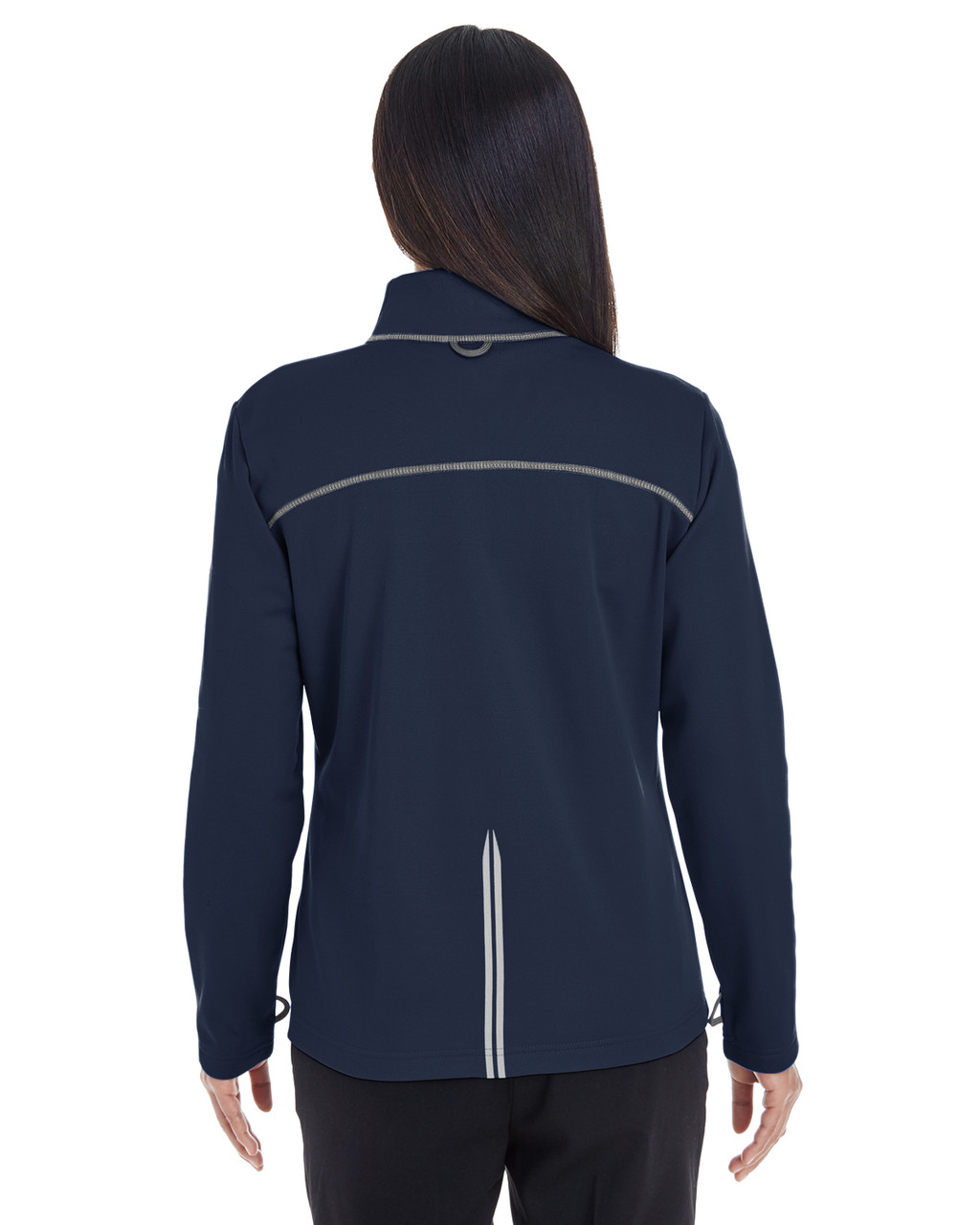 Navy/Grey/Navy Blue - BACK - NE703W Ash City - North End Ladies' Endeavor Interactive Performance Fleece Jacket | Blankclothing.ca