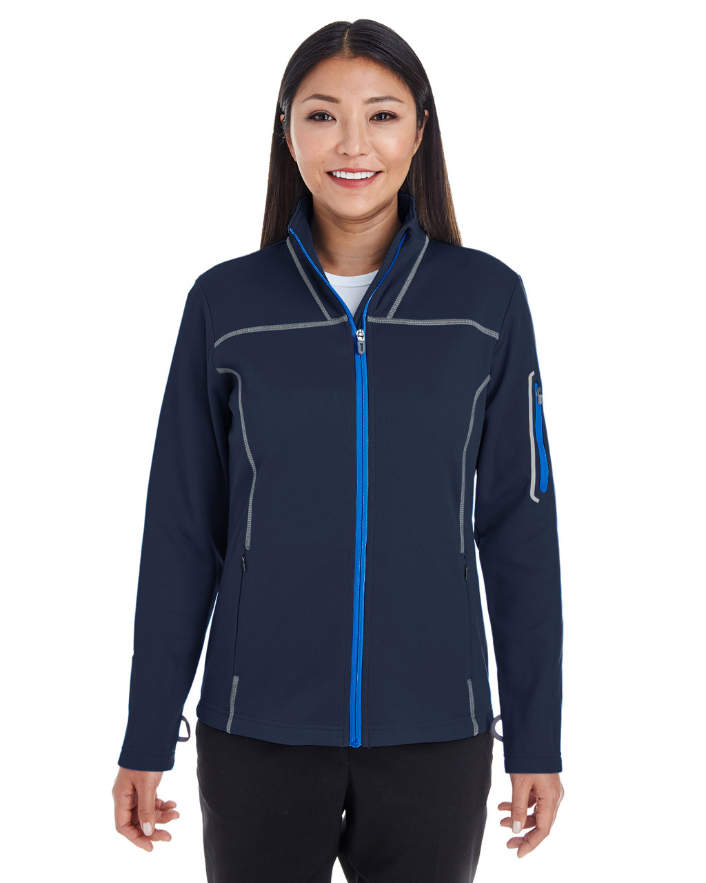 Navy/Grey/Navy Blue - FRONT -NE703W Ash City - North End Ladies' Endeavor Interactive Performance Fleece Jacket | Blankclothing.ca