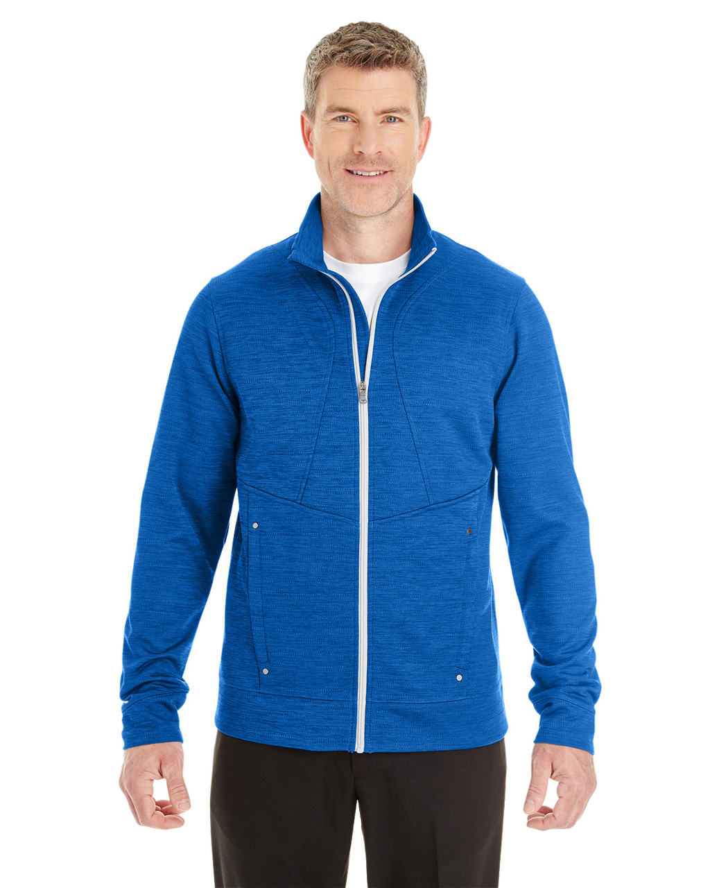 Blue - North End Men's Amplify Melange Fleece Jacket | Blankclothing.ca