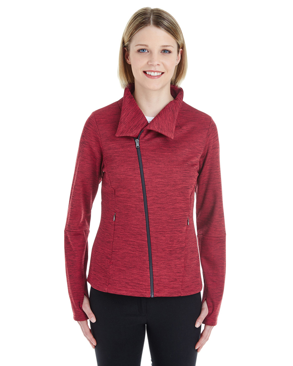 Olympic Red/Carbon - NE704W Ash City - North End Ladies' Amplify Melange Fleece Jacket | Blankclothing.ca