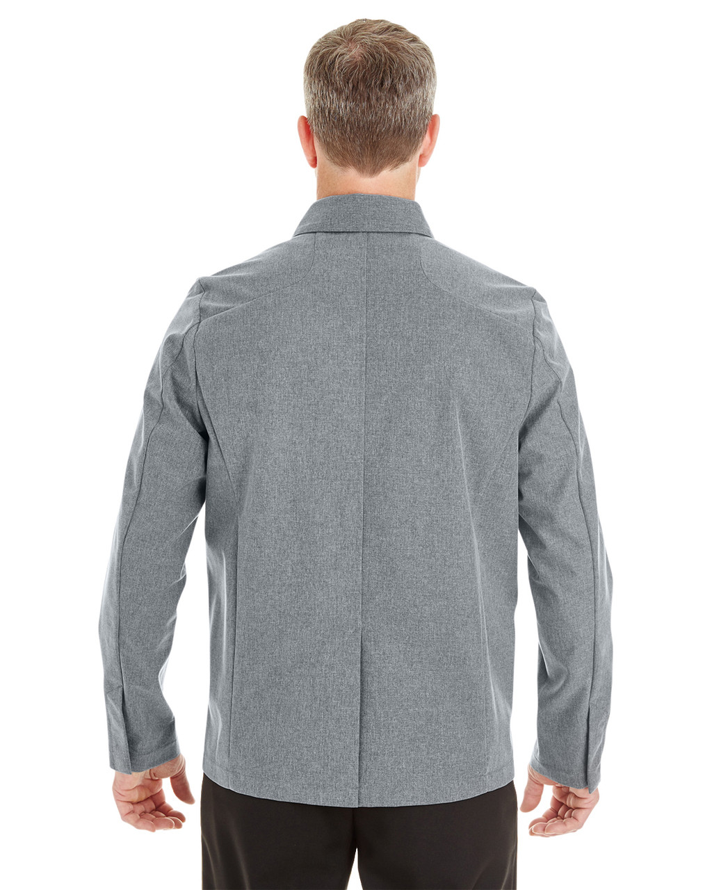 City Grey - Back- NE705 Ash City - North End Men's Edge Soft Shell Jacket with Fold-Down Collar | Blankclothing.ca