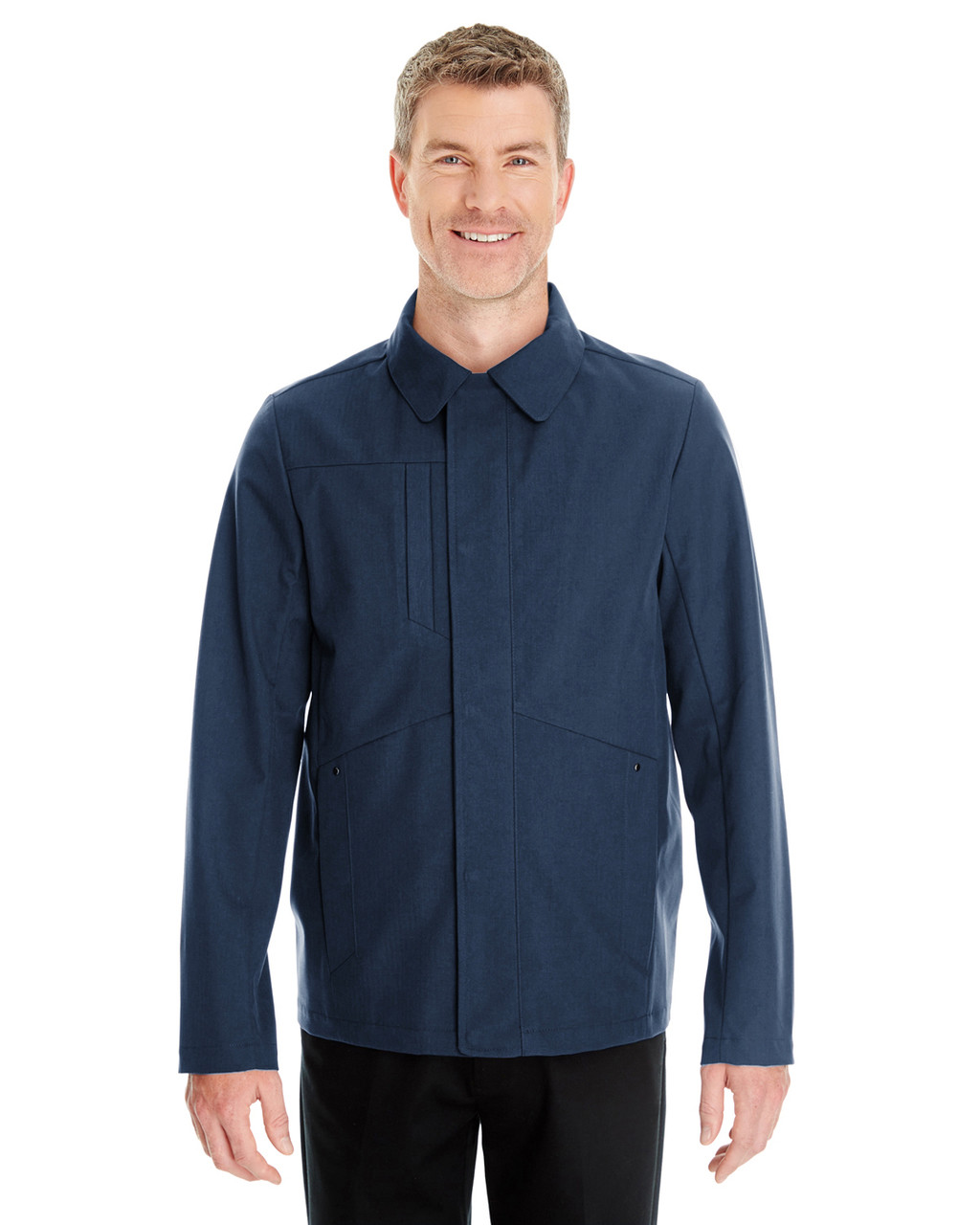 Navy - Front- NE705 Ash City - North End Men's Edge Soft Shell Jacket with Fold-Down Collar | Blankclothing.ca