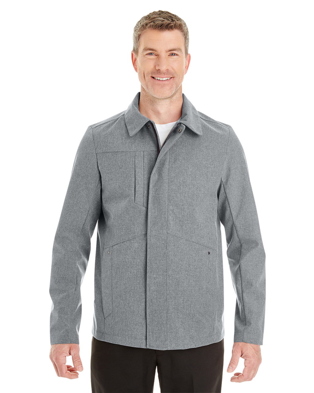 City Grey - Front- NE705 Ash City - North End Men's Edge Soft Shell Jacket with Fold-Down Collar   Blankclothing.ca
