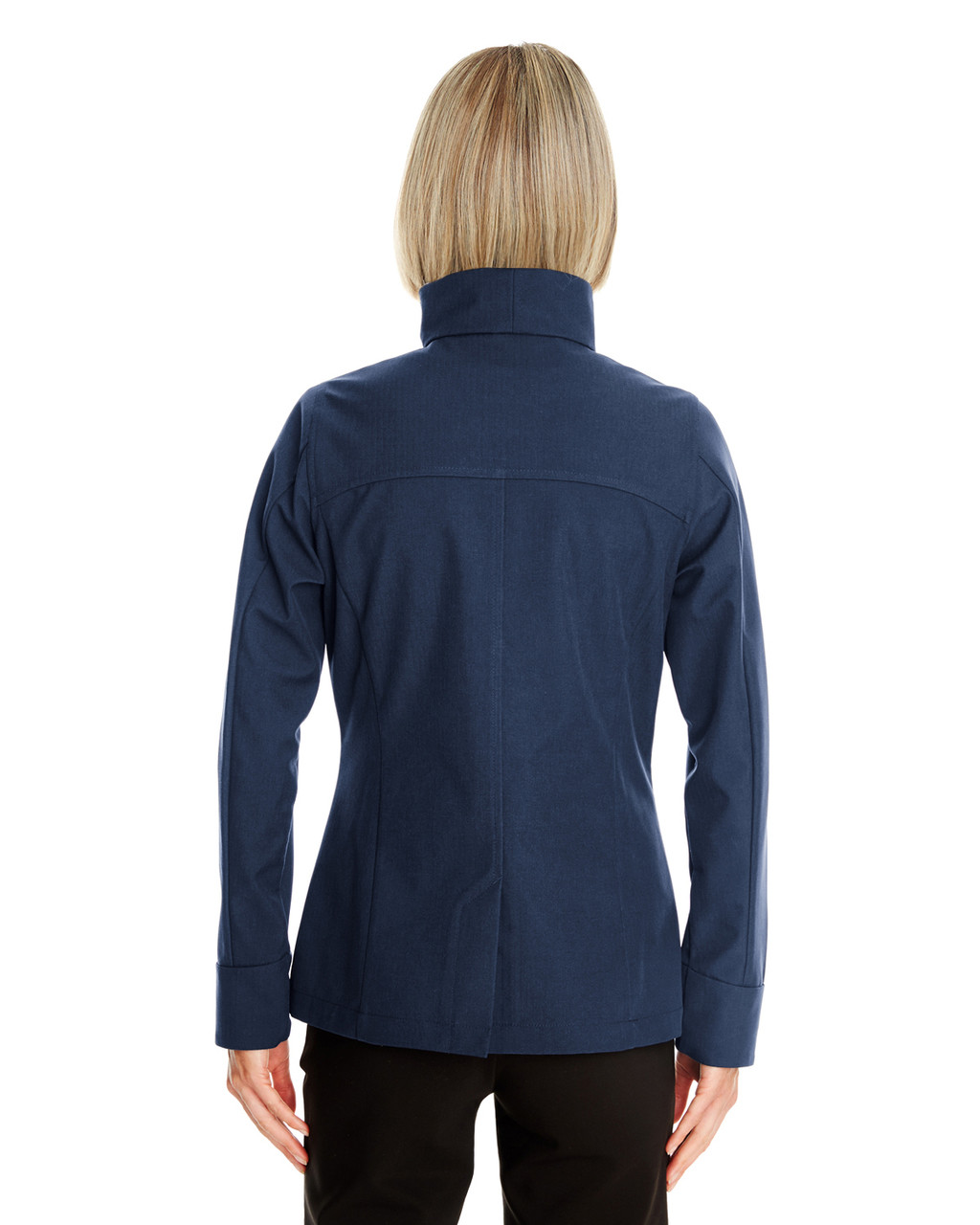 Navy - Back - NE705W Ash City - North End Ladies' Edge Soft Shell Jacket with Fold-Down Collar | Blankclothing.ca