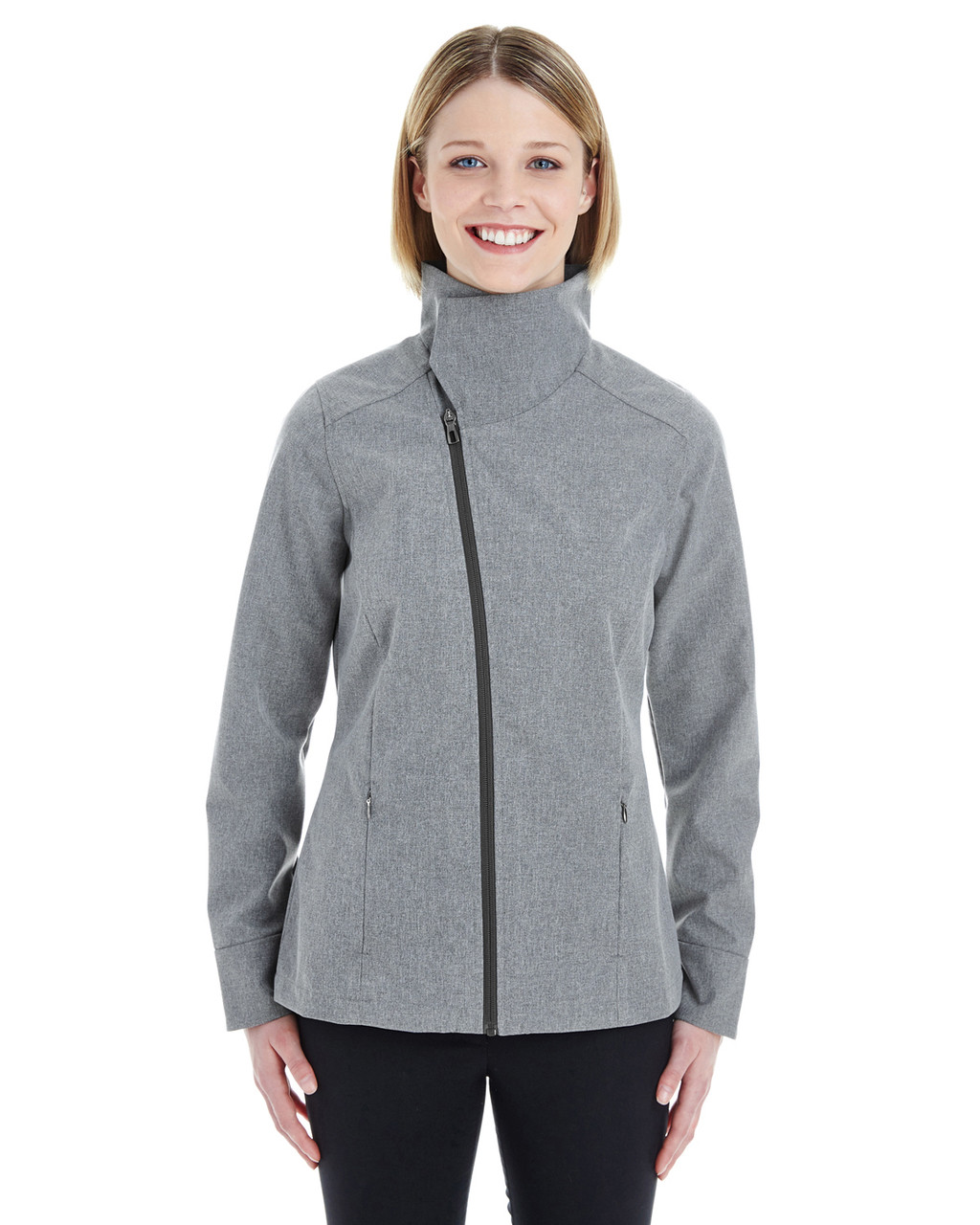 City Grey - Front - NE705W Ash City - North End Ladies' Edge Soft Shell Jacket with Fold-Down Collar   Blankclothing.ca