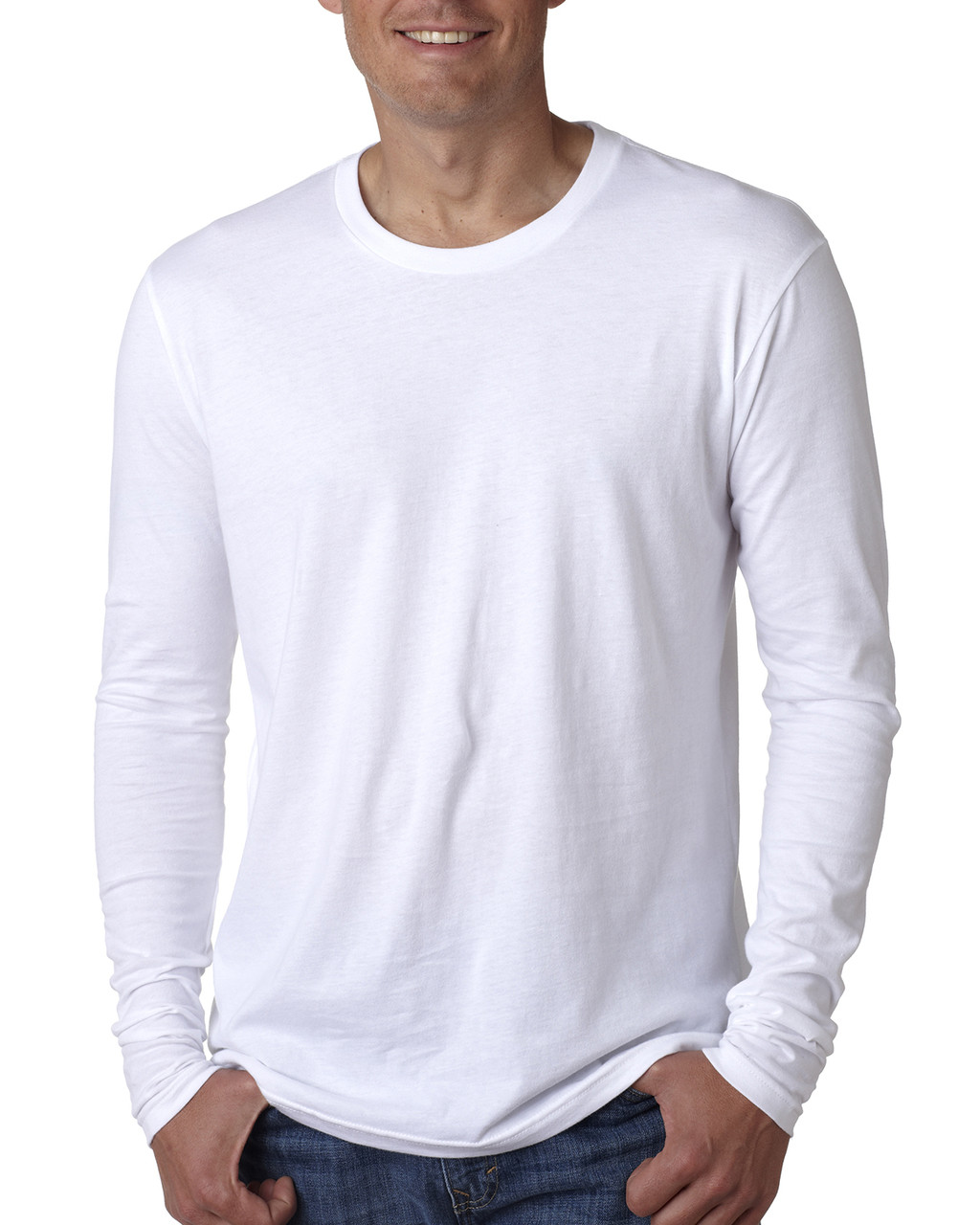 White - N3601 Next Level Men's Premium Fitted Long Sleeve Crew Tee   Blankclothing.ca