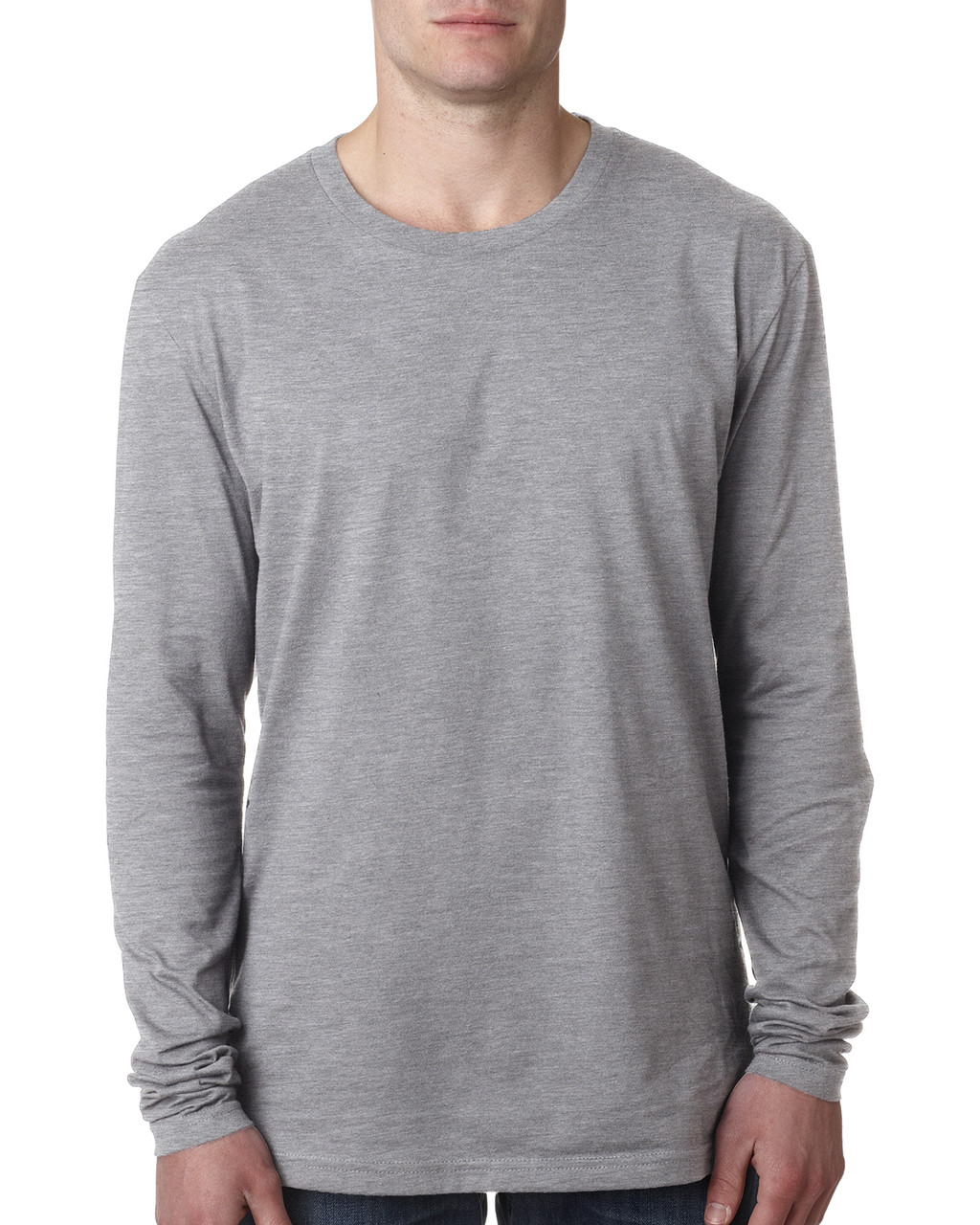 Heather Grey - N3601 Next Level Men's Premium Fitted Long Sleeve Crew Tee | Blankclothing.ca