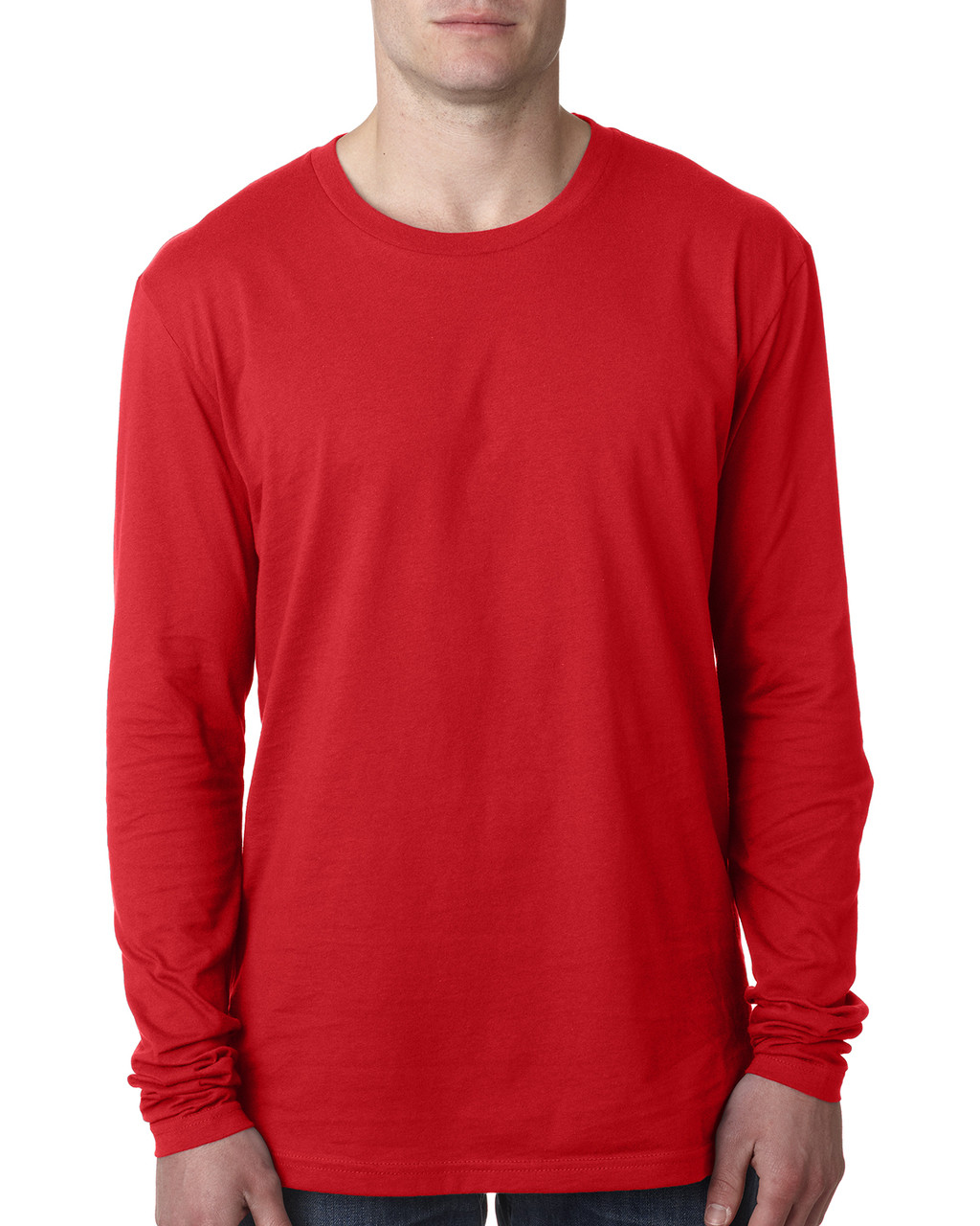 Red - N3601 Next Level Men's Premium Fitted Long Sleeve Crew Tee | Blankclothing.ca
