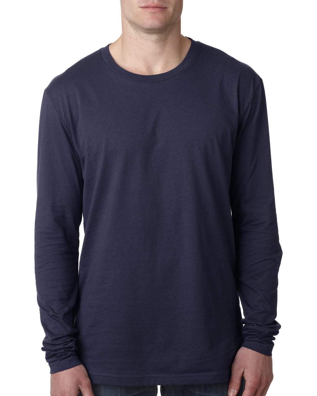 Midnight Navy - N3601 Next Level Men's Premium Fitted Long Sleeve Crew Tee | Blankclothing.ca