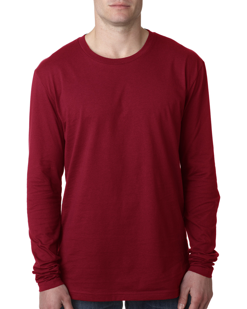 Cardinal - N3601 Next Level Men's Premium Fitted Long Sleeve Crew Tee | Blankclothing.ca