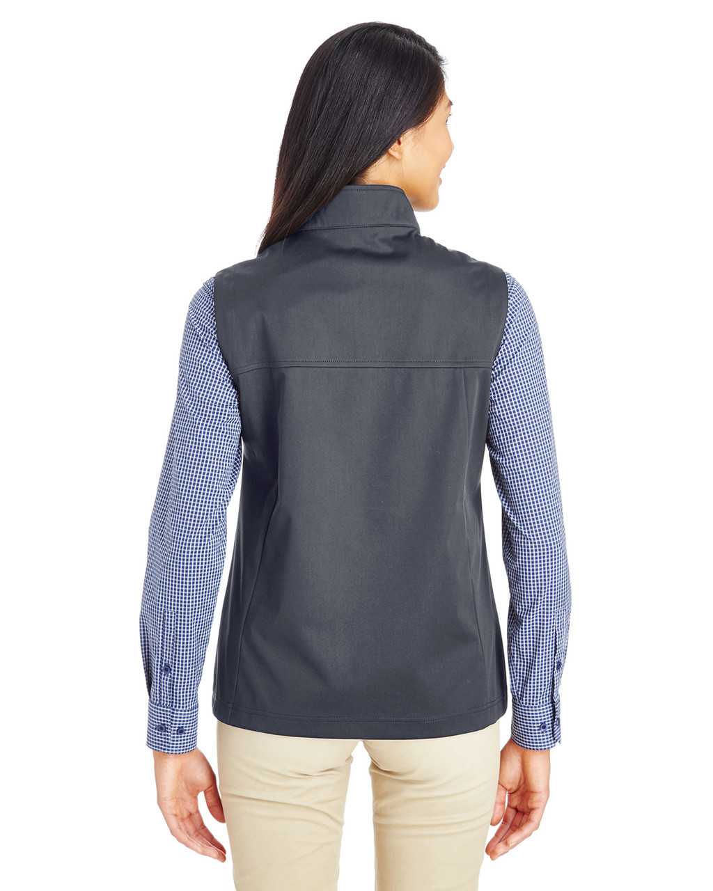 Carbon - Back CE709W Ash City - Core 365 Ladies' Techno Lite Three-Layer Knit Tech-Shell Quarter-Zip Vest | Blankclothing.ca