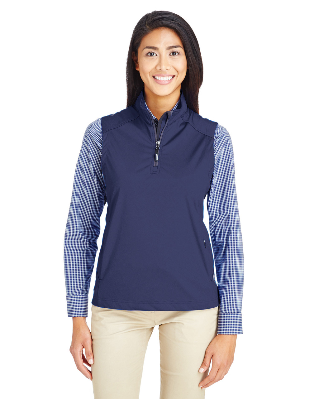 Classic Navy - CE709W Ash City - Core 365 Ladies' Techno Lite Three-Layer Knit Tech-Shell Quarter-Zip Vest | Blankclothing.ca