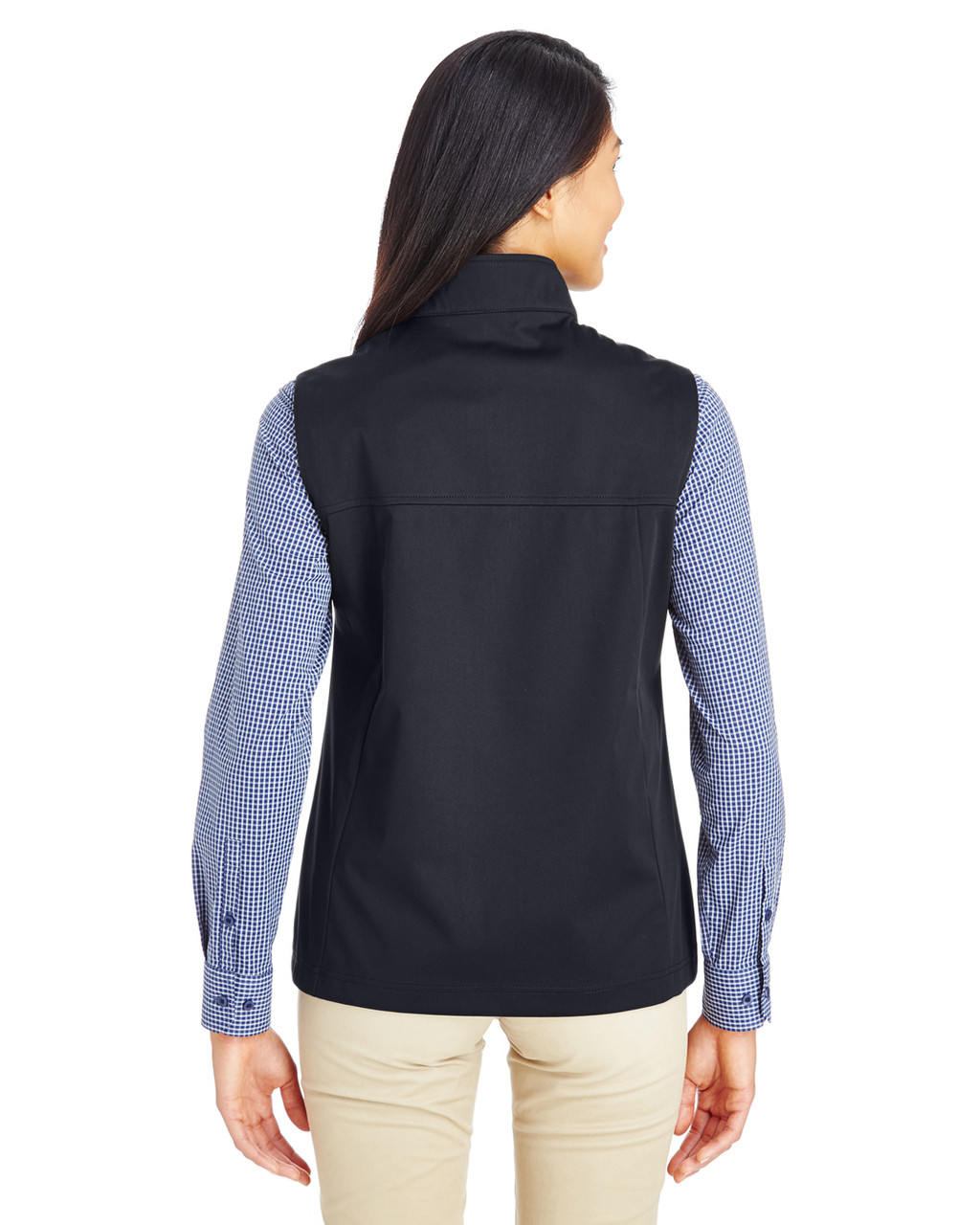 Black - Back CE709W Ash City - Core 365 Ladies' Techno Lite Three-Layer Knit Tech-Shell Quarter-Zip Vest | Blankclothing.ca