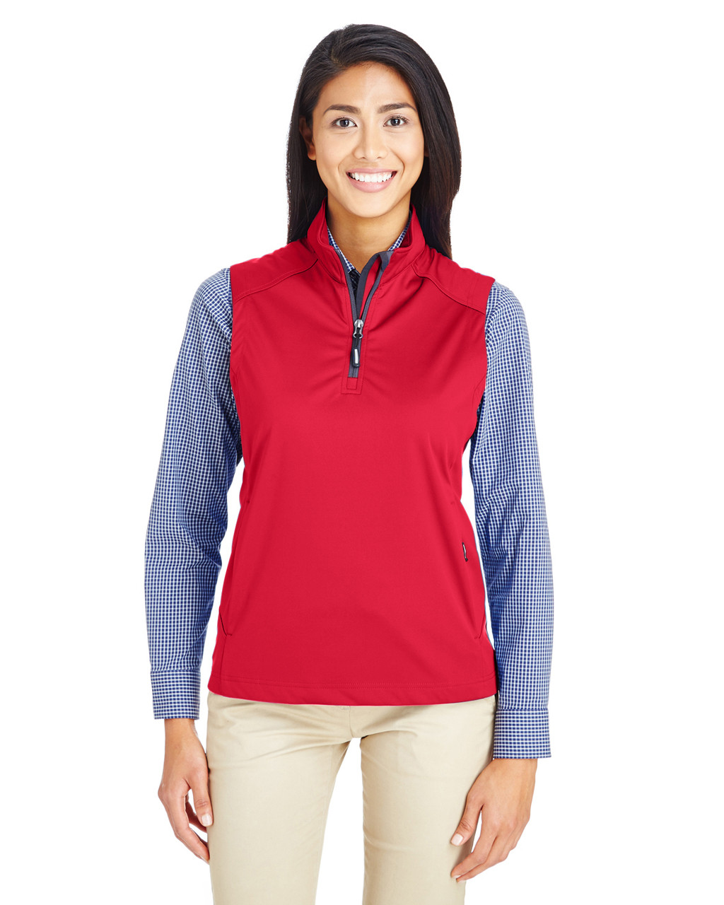 Classic Red - CE709W Ash City - Core 365 Ladies' Techno Lite Three-Layer Knit Tech-Shell Quarter-Zip Vest | Blankclothing.ca