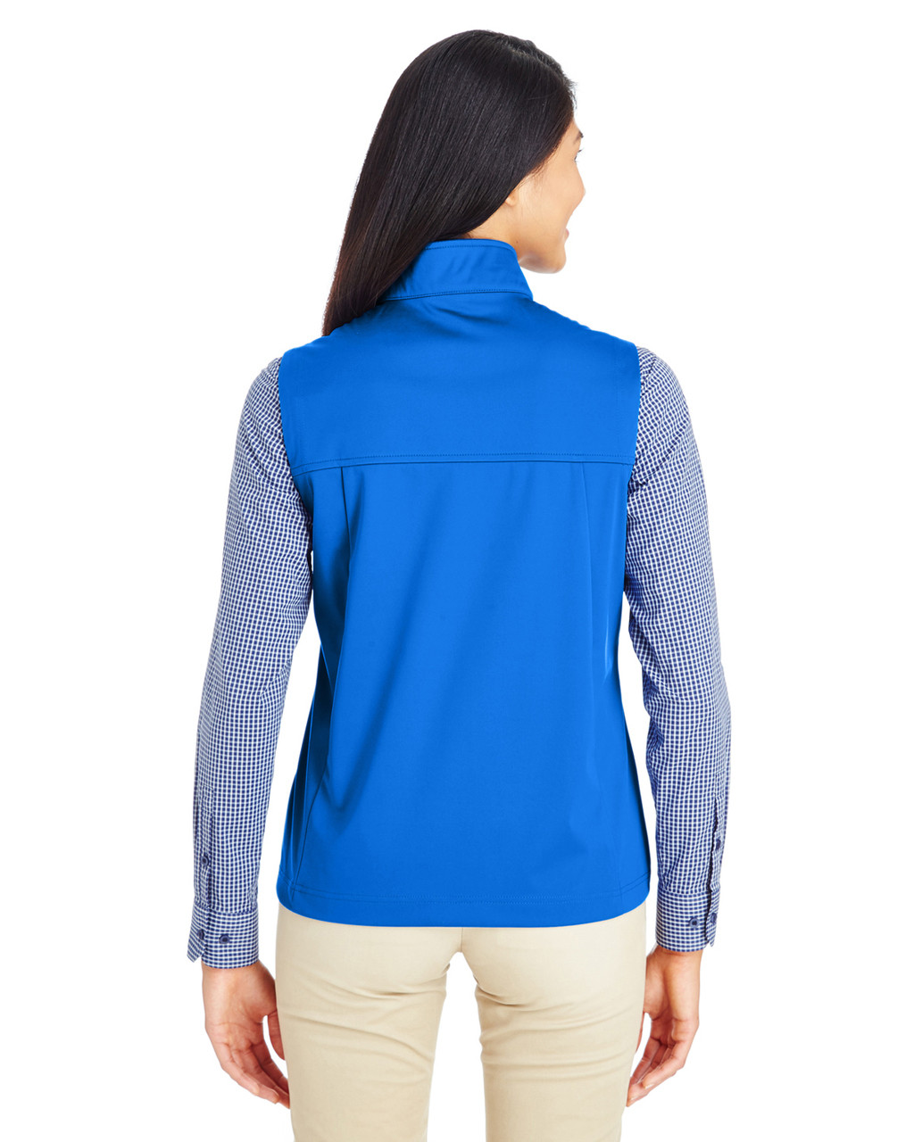 True Royal - Back  CE709W Ash City - Core 365 Ladies' Techno Lite Three-Layer Knit Tech-Shell Quarter-Zip Vest | Blankclothing.ca